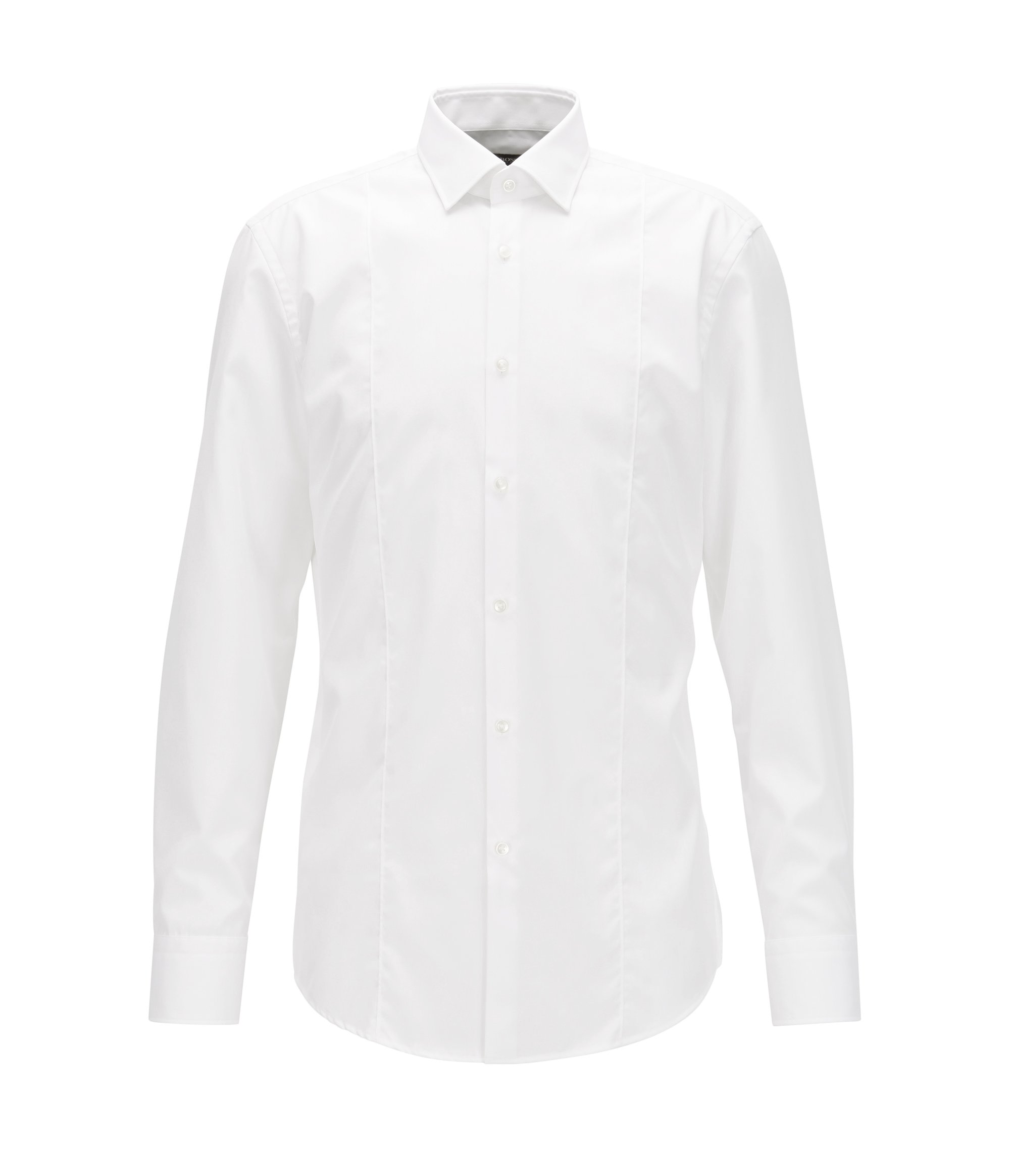 Slim-fit panelled shirt in easy-iron cotton, White