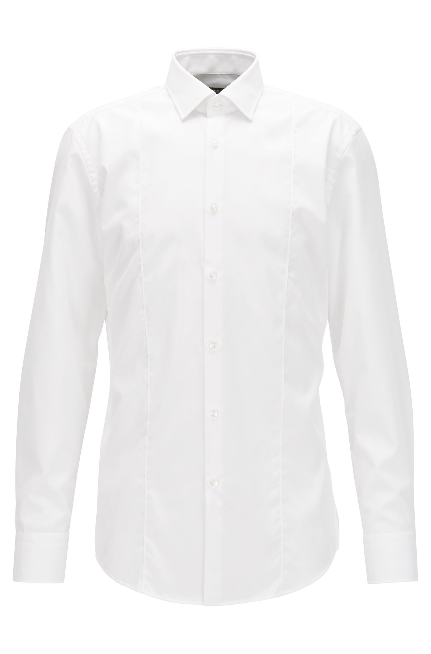 Slim-fit panelled shirt in easy-iron cotton