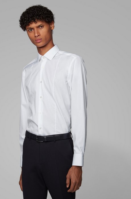 Slim-fit shirt in easy-iron cotton poplin, White