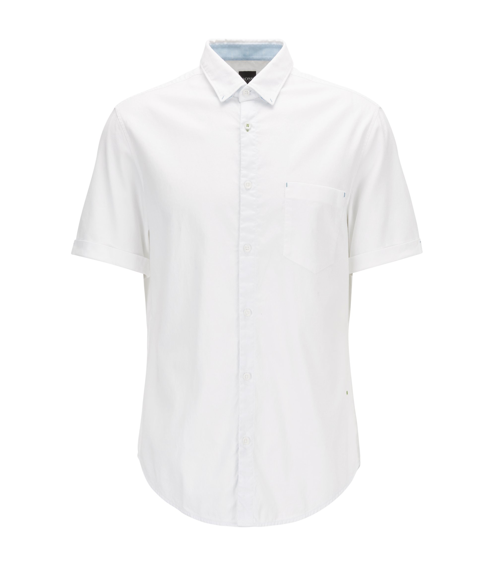 Chemise Regular Fit en coton Oxford stretch, Blanc