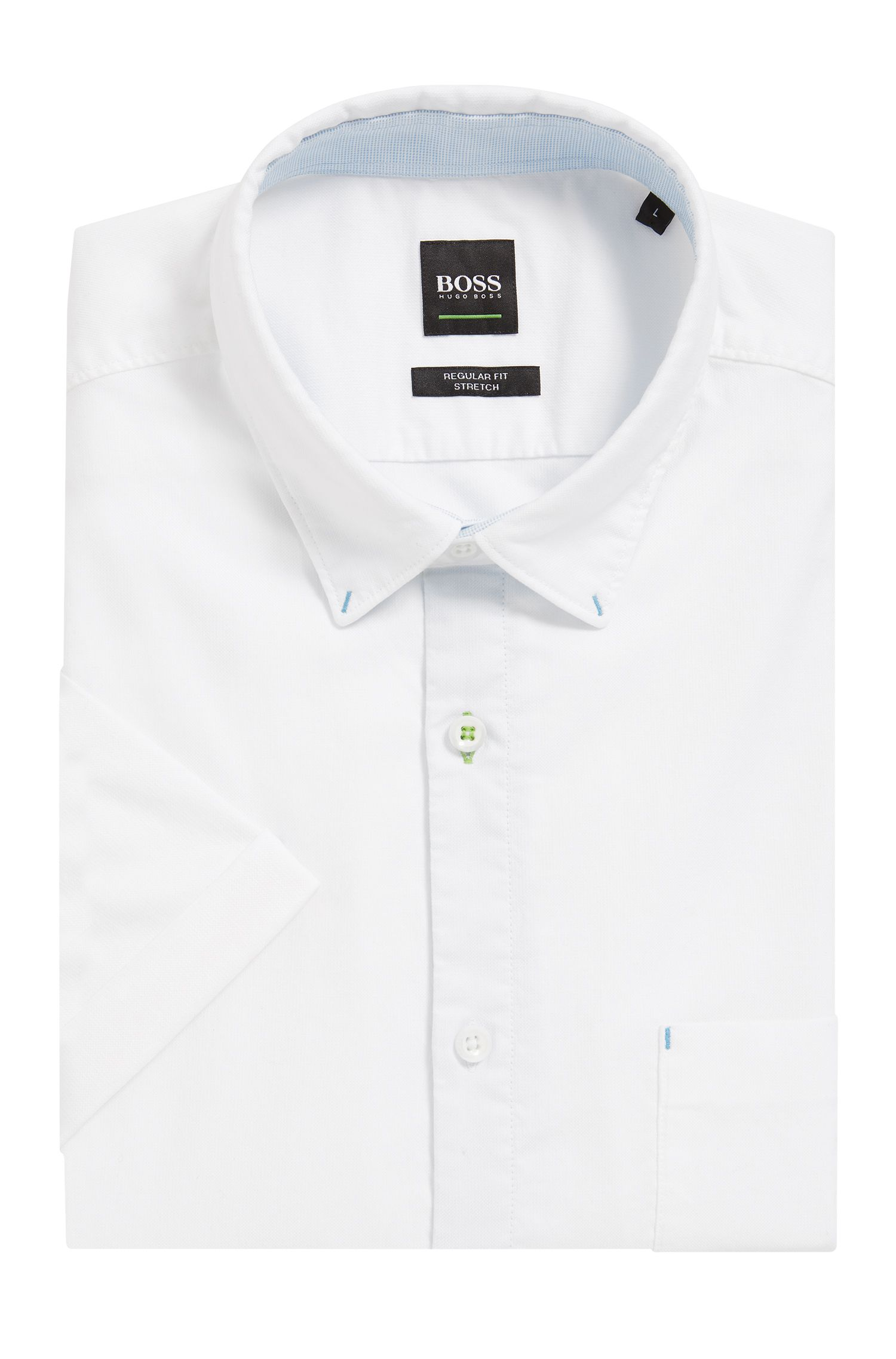 Camisa Oxford regular fit en algodón elástico
