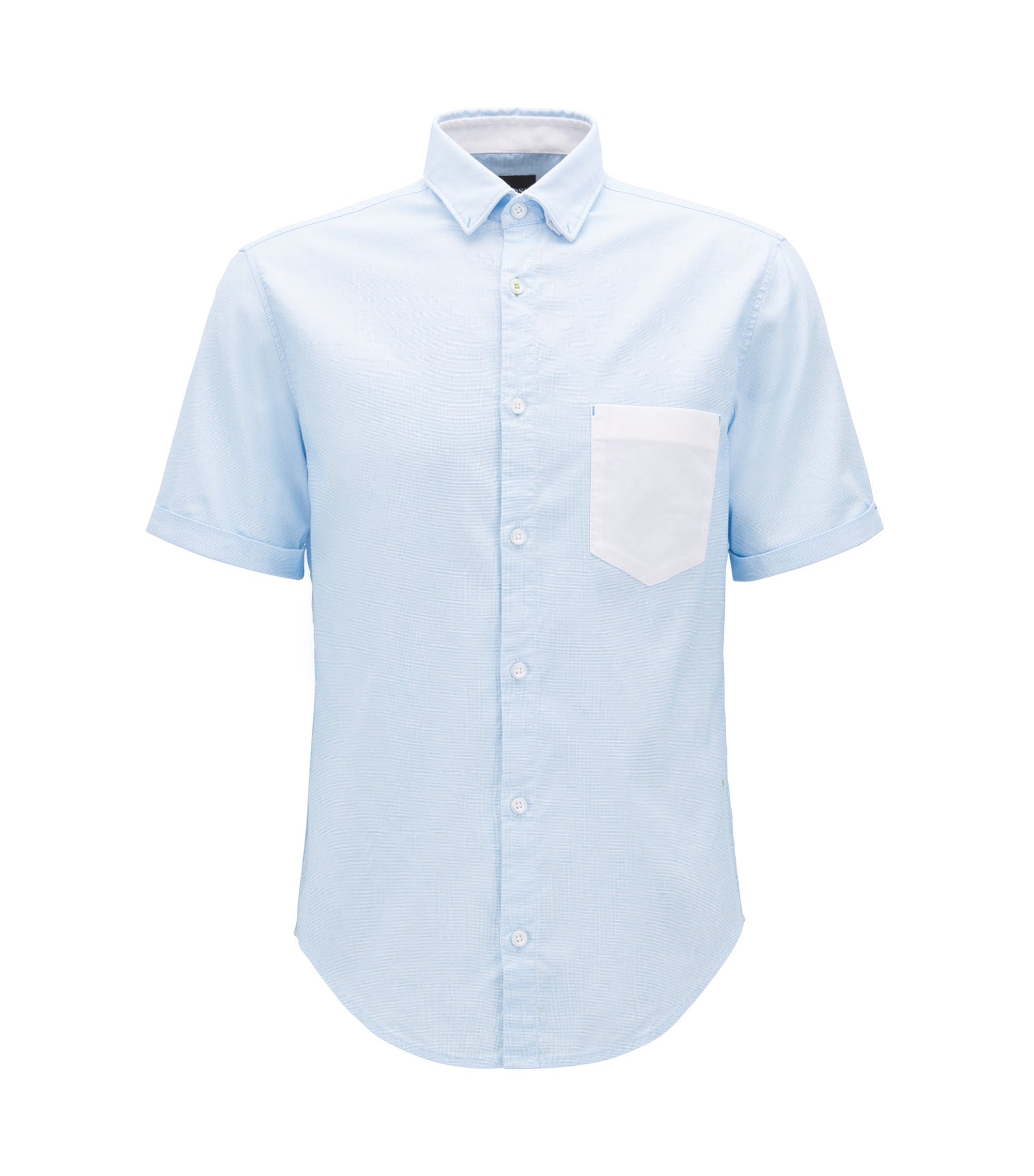 Regular-fit shirt in Oxford stretch cotton , Light Blue