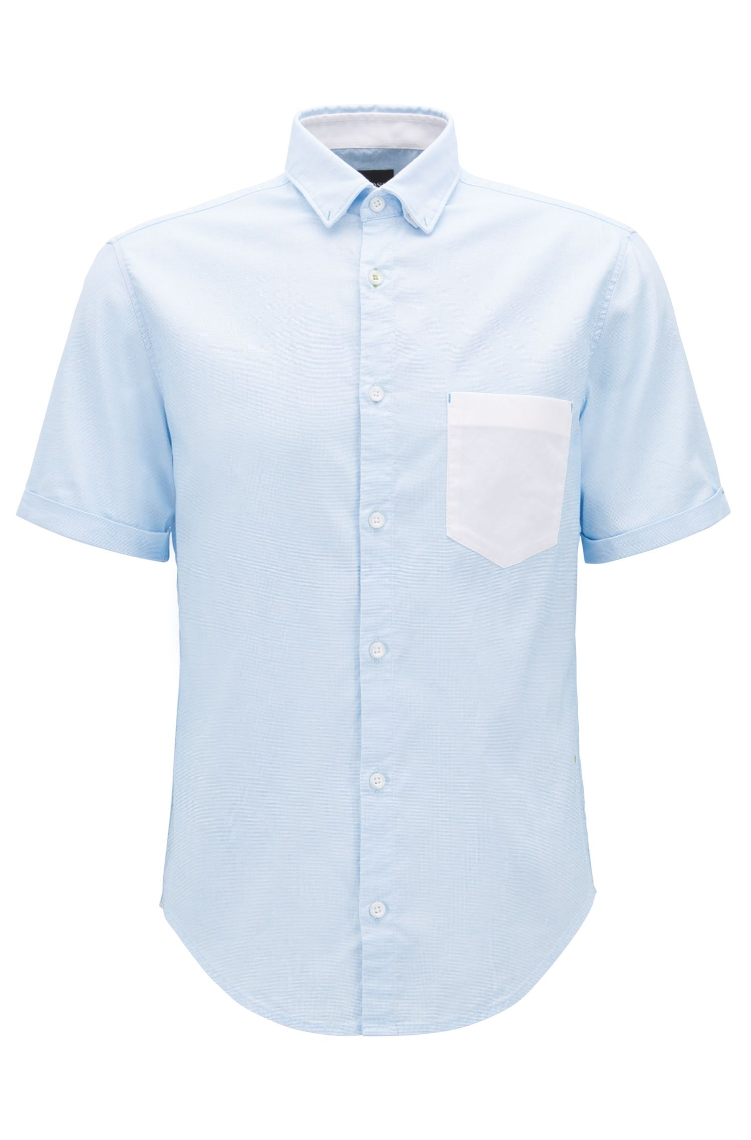Regular-fit shirt in Oxford stretch cotton