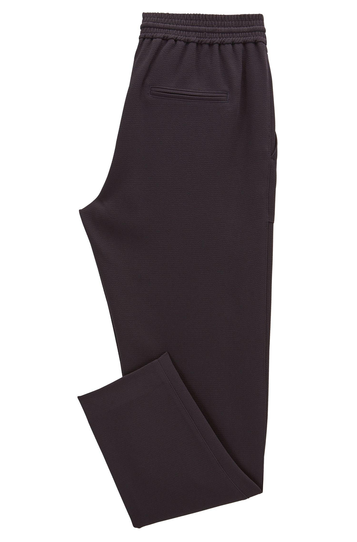 Relaxed-fit broek met trekkoord van gekreukte stretchcrêpe