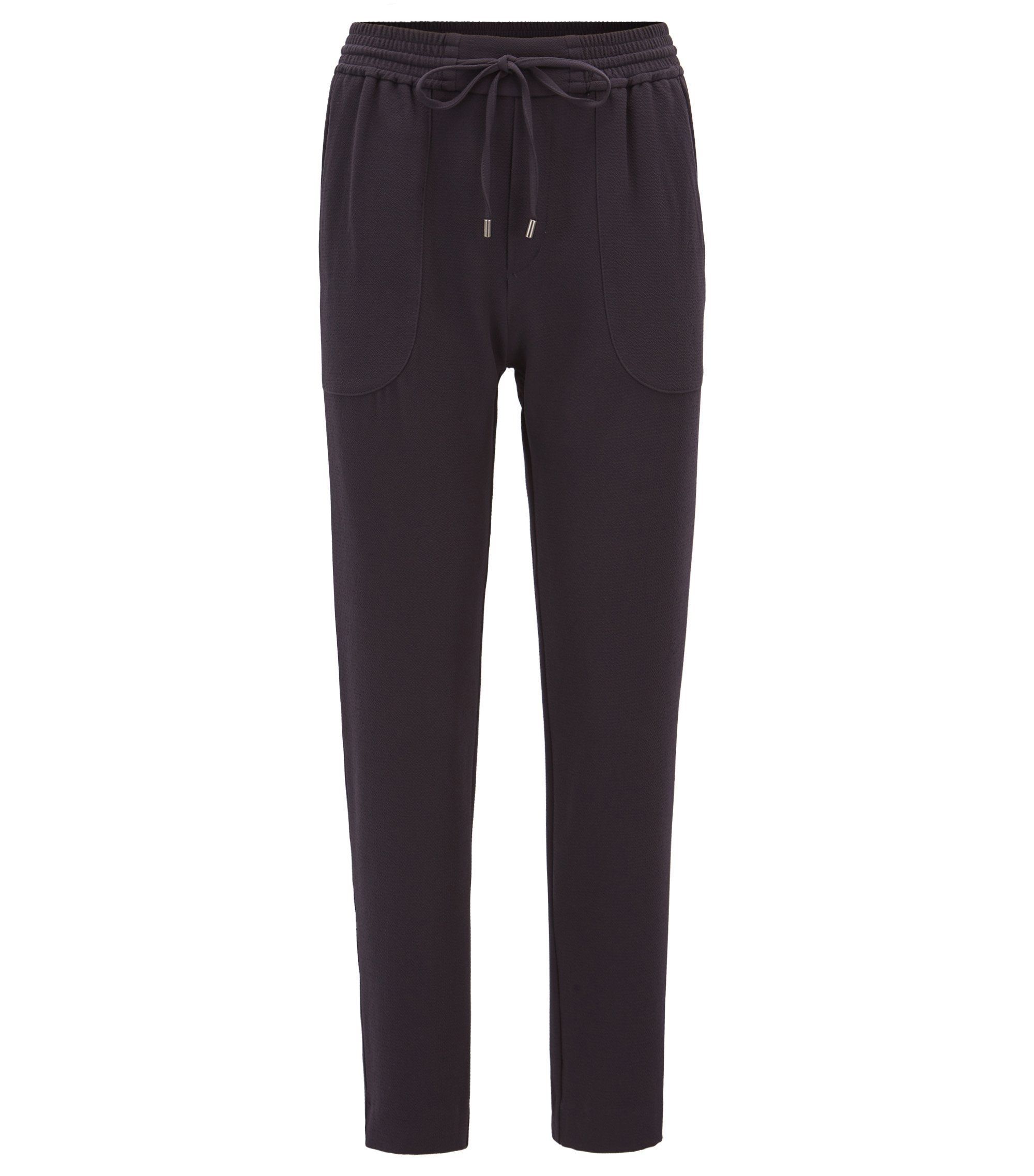 Relaxed-fit drawstring trousers in stretch crinkle crepe, Dark Blue