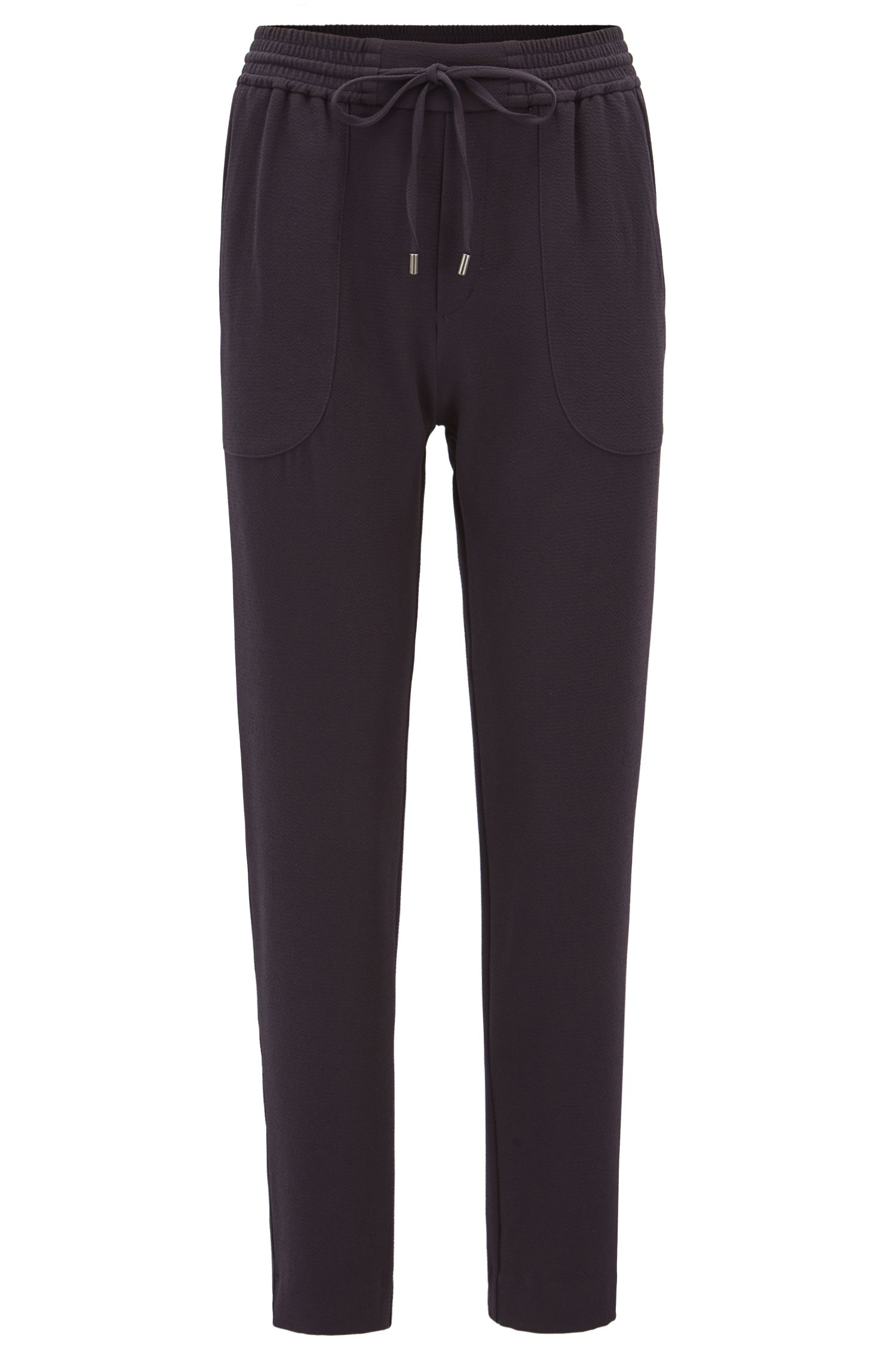 Relaxed-fit drawstring trousers in stretch crinkle crepe