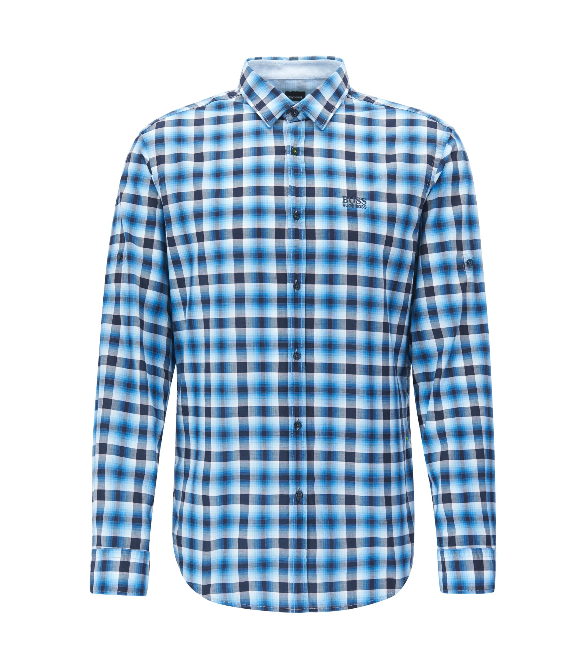 Regular-fit checked shirt in cotton poplin, Blue