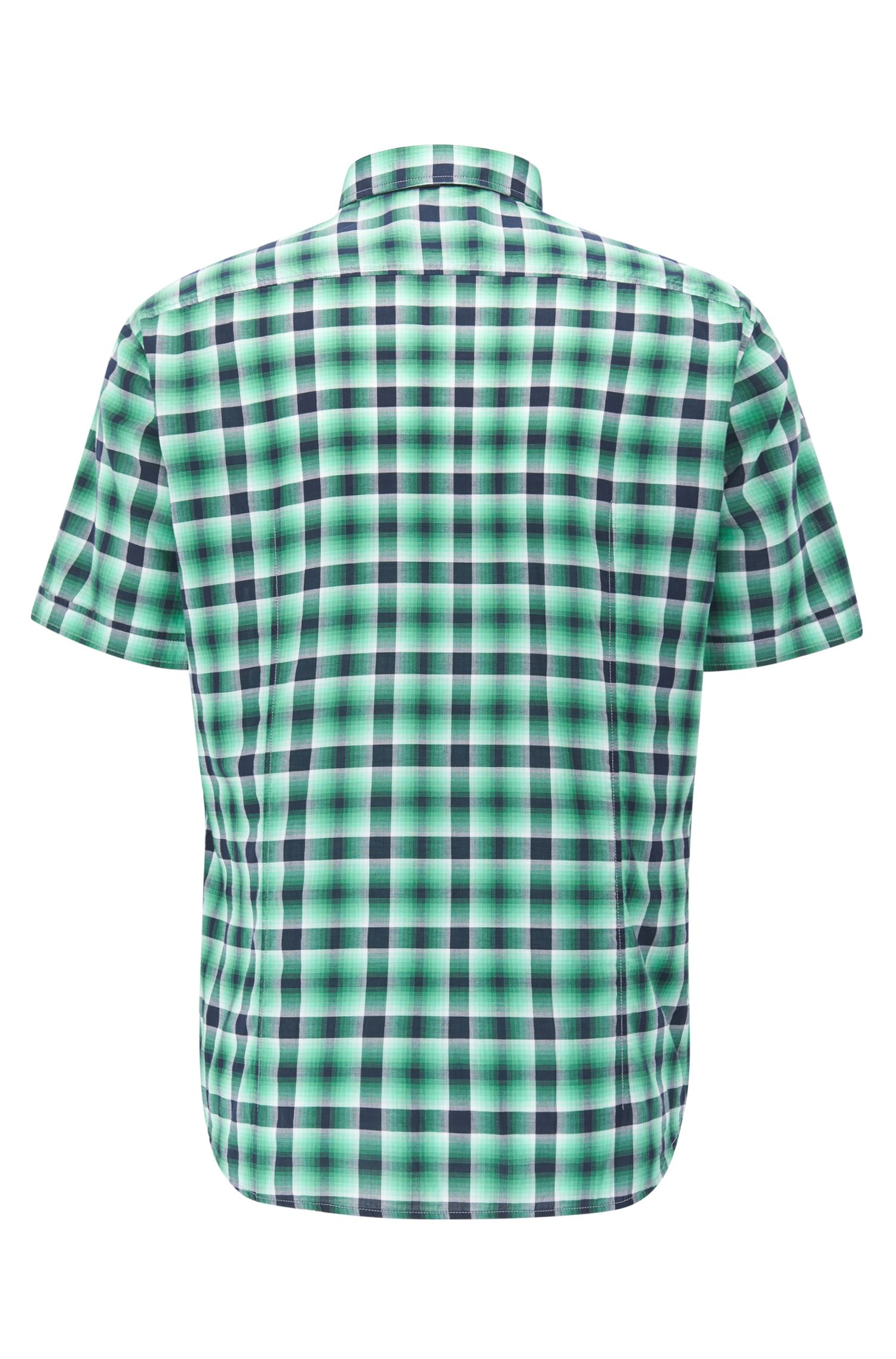 Short-sleeved check cotton shirt in a regular fit