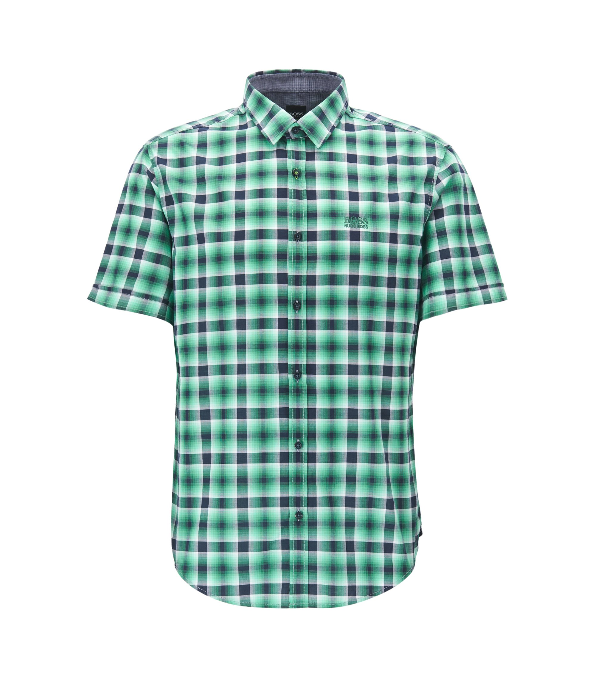 Camicia a quadri regular fit in cotone a maniche corte, Verde