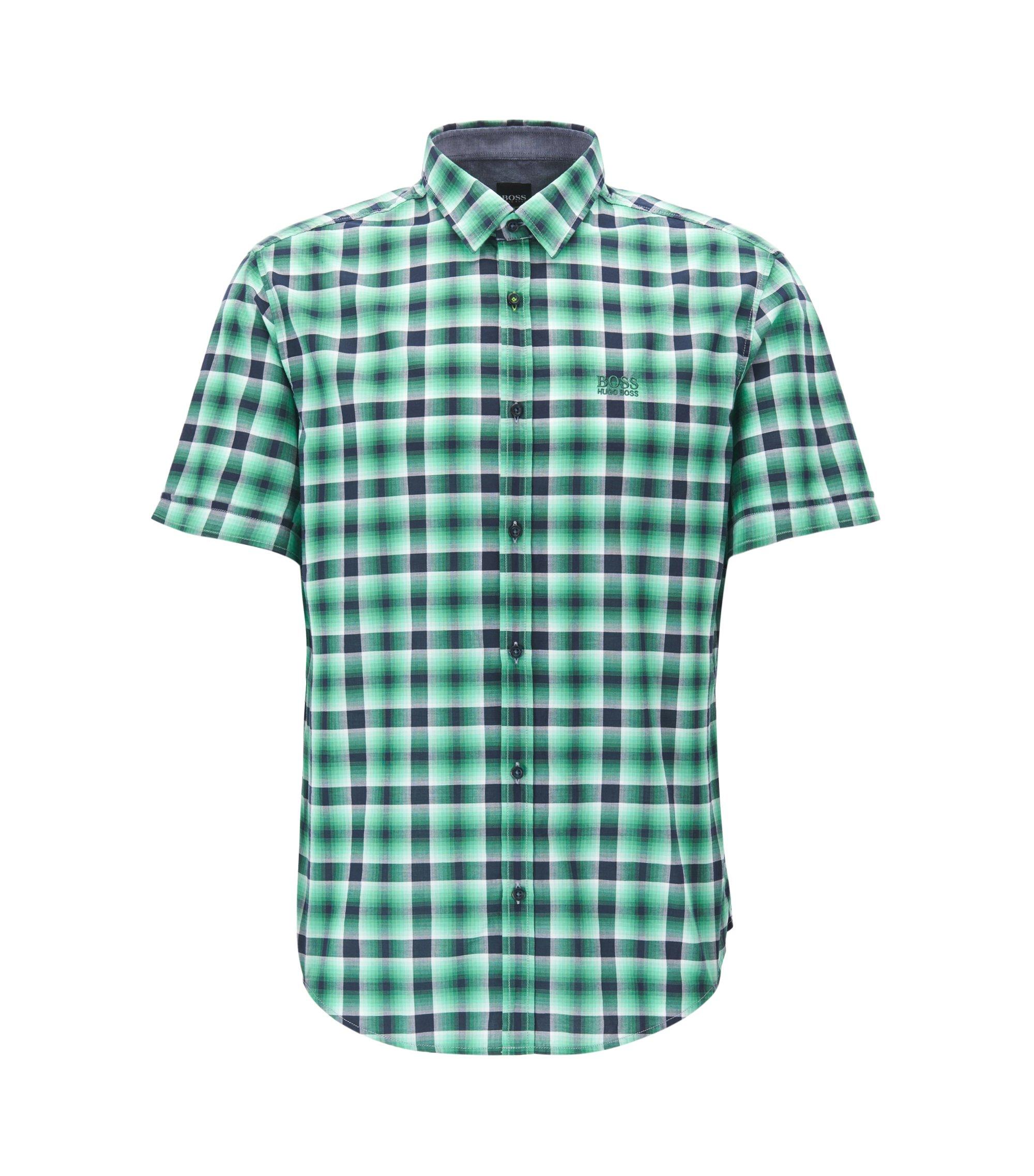 Camisa de manga corta regular fit en algodón a cuadros, Verde