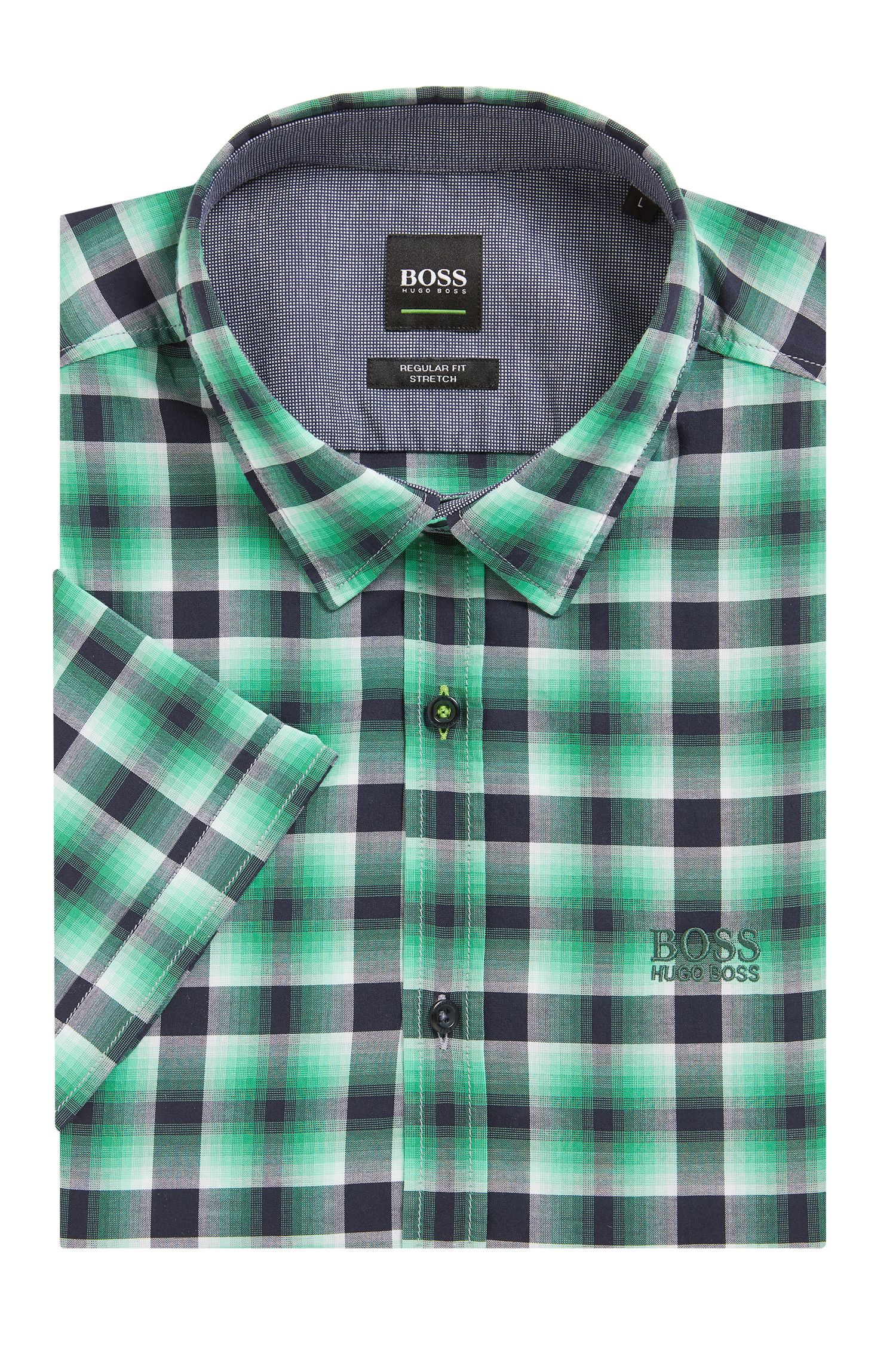 Camicia a quadri regular fit in cotone a maniche corte