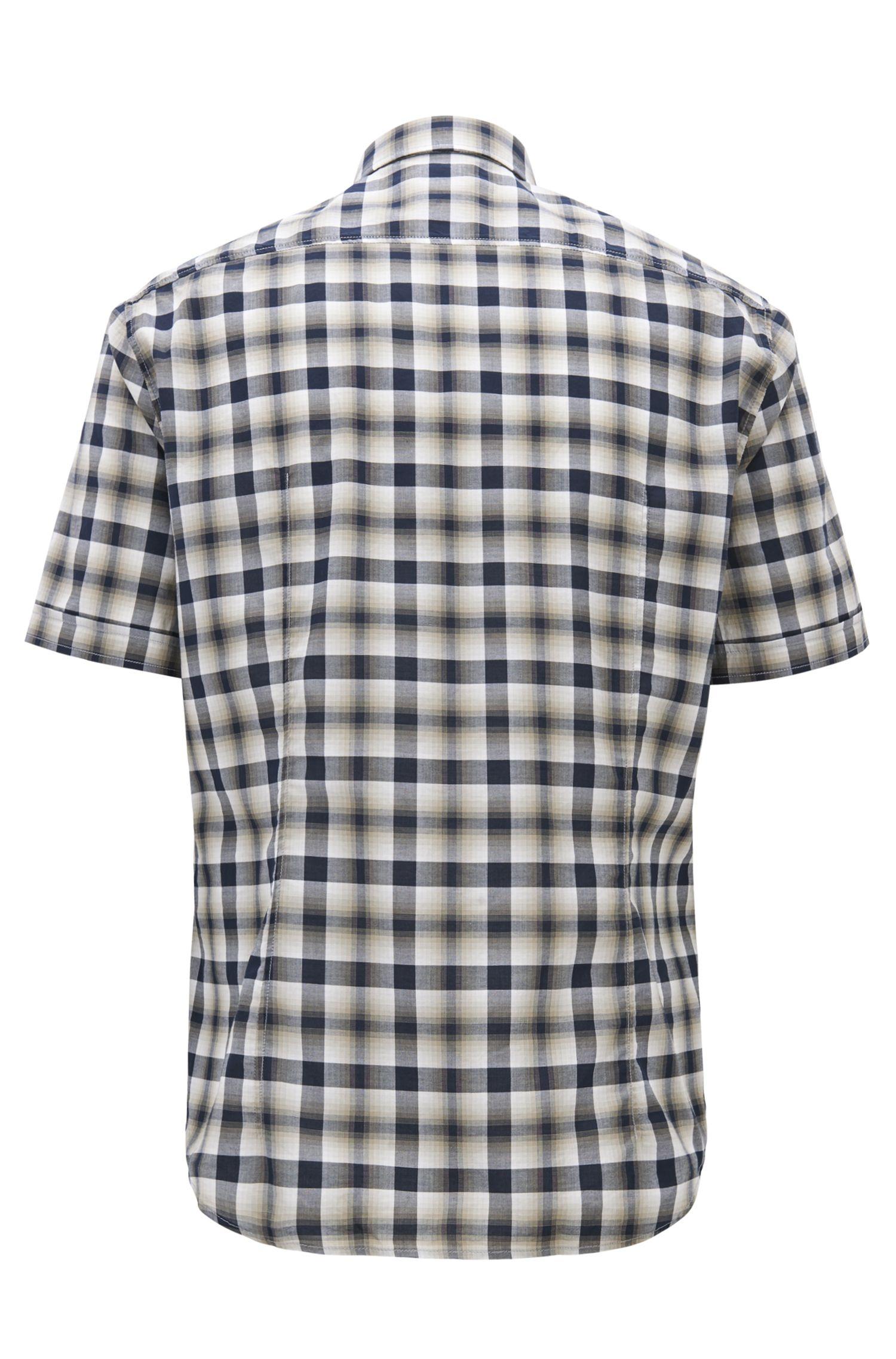 Regular-fit overhemd met korte mouwen van geruite katoen