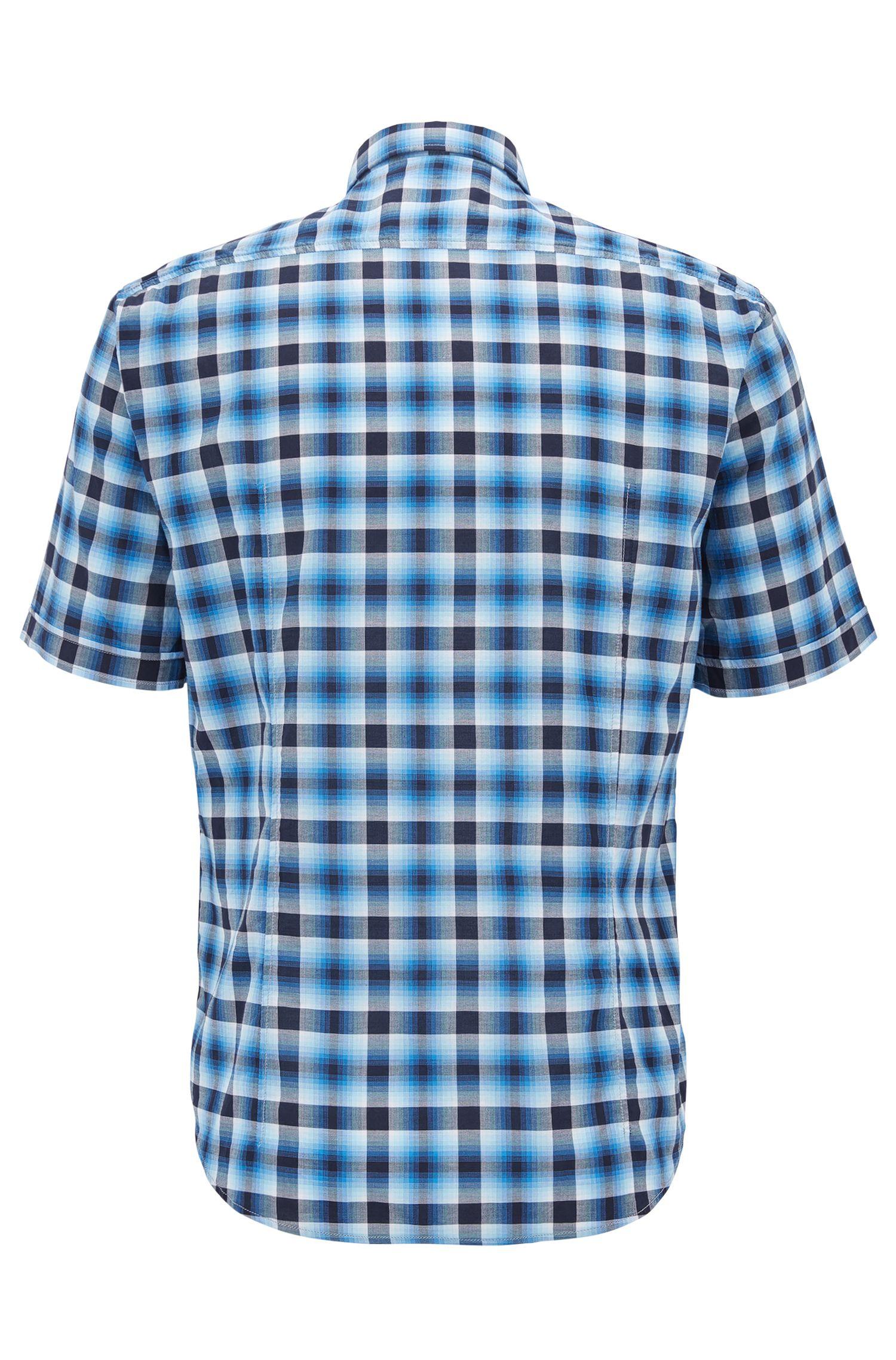 Camicia a quadri regular fit in cotone a maniche corte