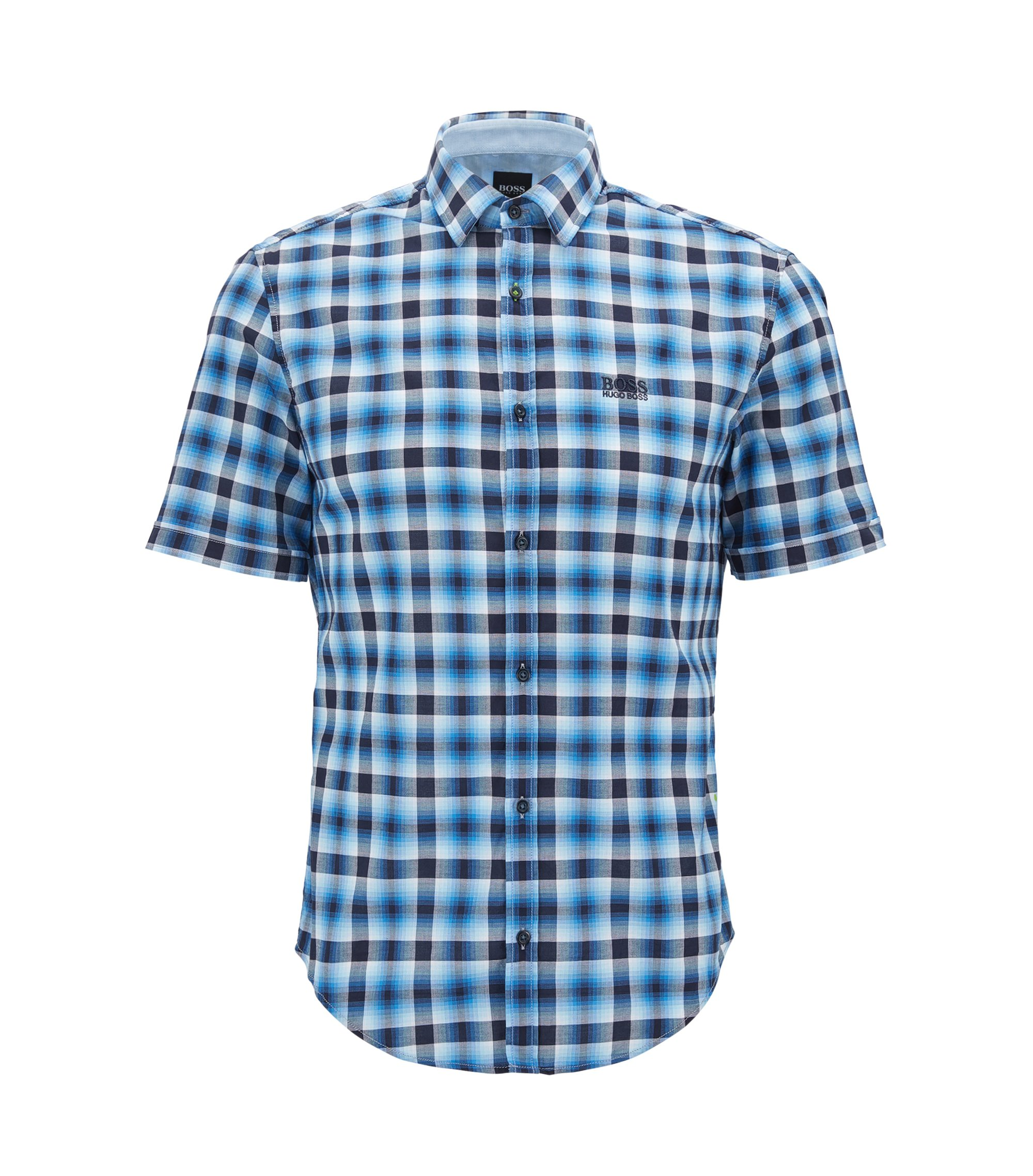 Camicia a quadri regular fit in cotone a maniche corte, Blu