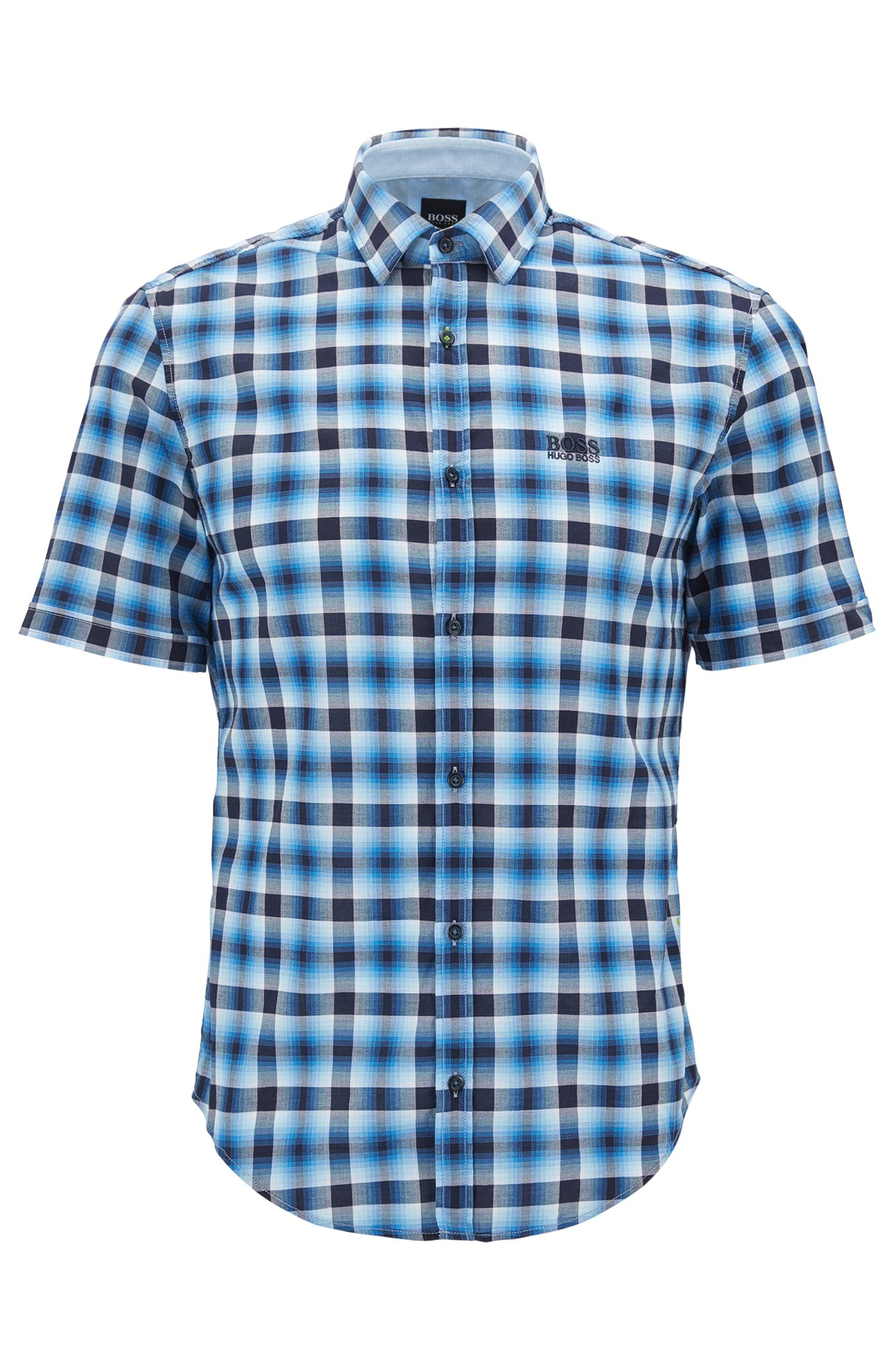 Kariertes Regular-Fit Kurzarm-Hemd aus Baumwolle