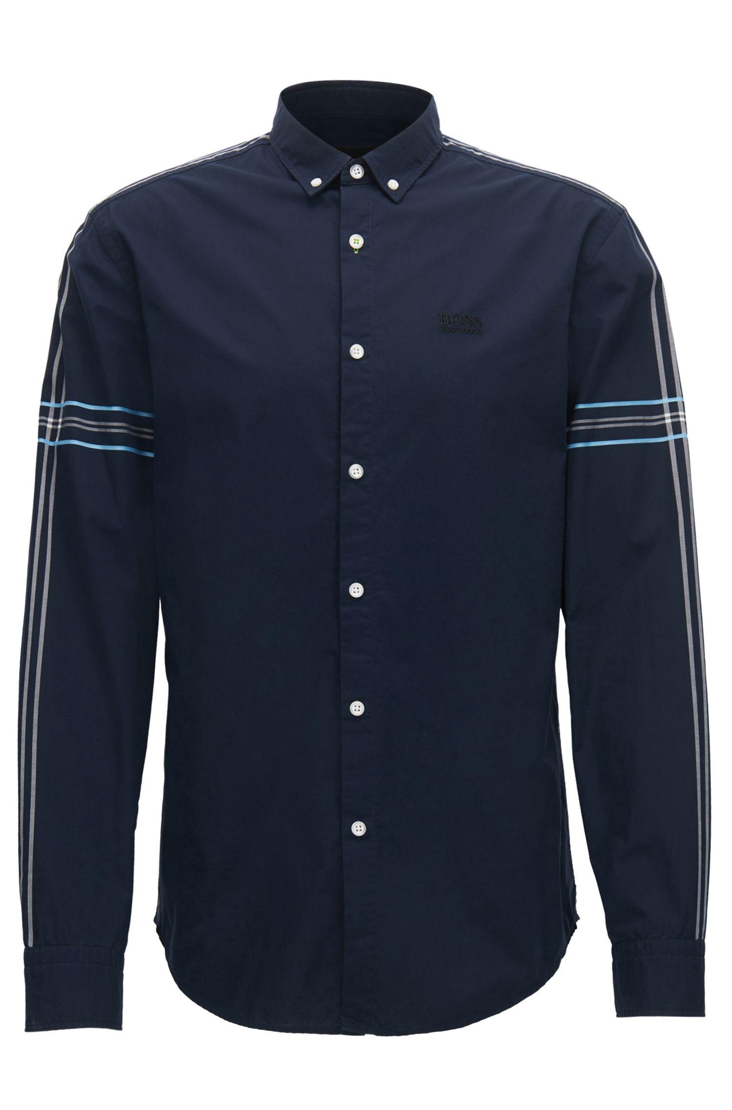 Slim-Fit Hemd aus Baumwoll-Popeline mit Button-Down-Kragen