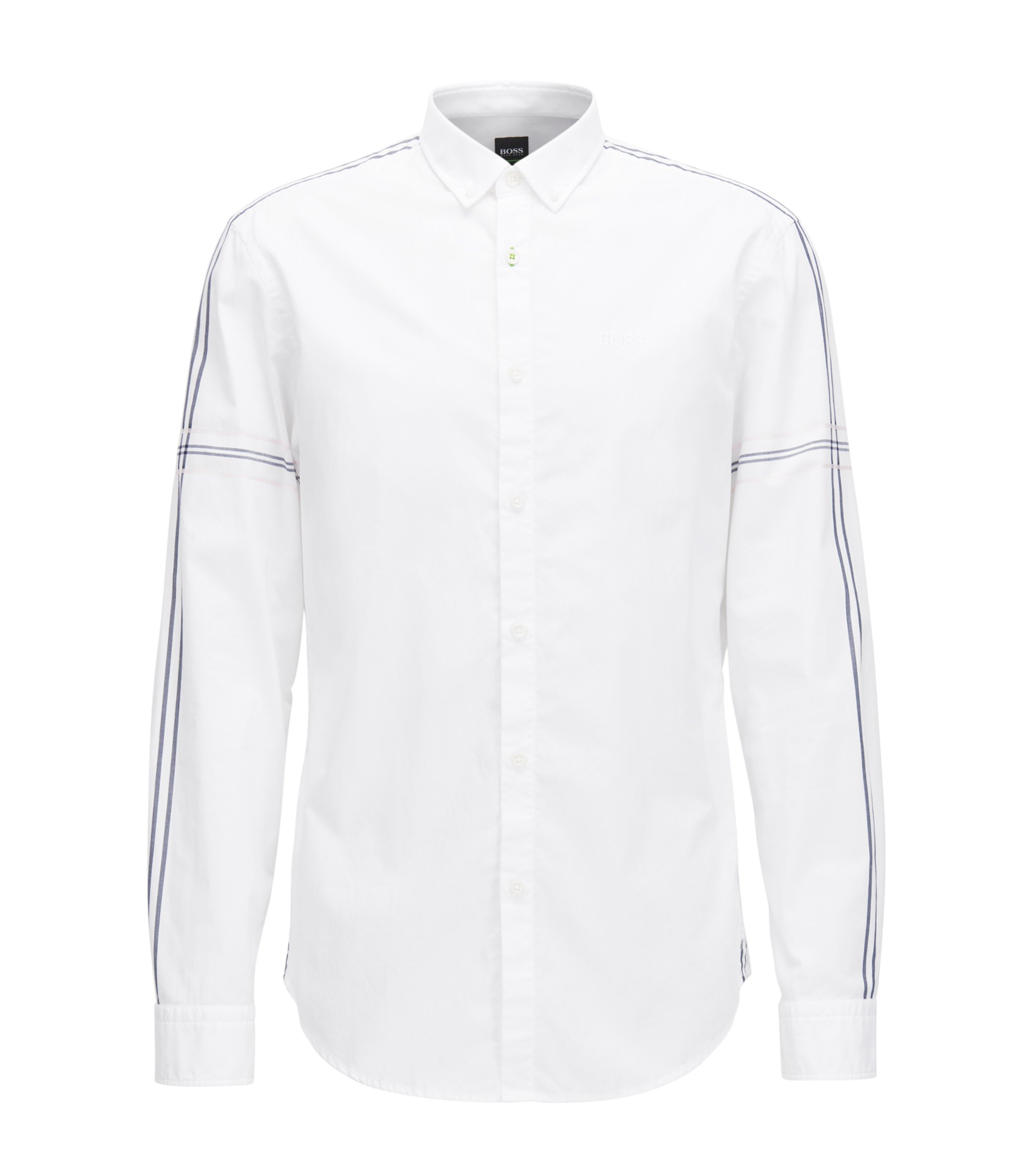 Camicia slim fit button-down in popeline di cotone, Bianco