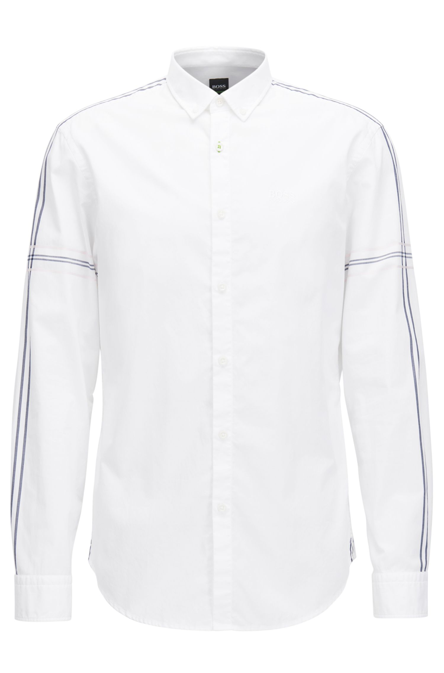 Camicia slim fit button-down in popeline di cotone
