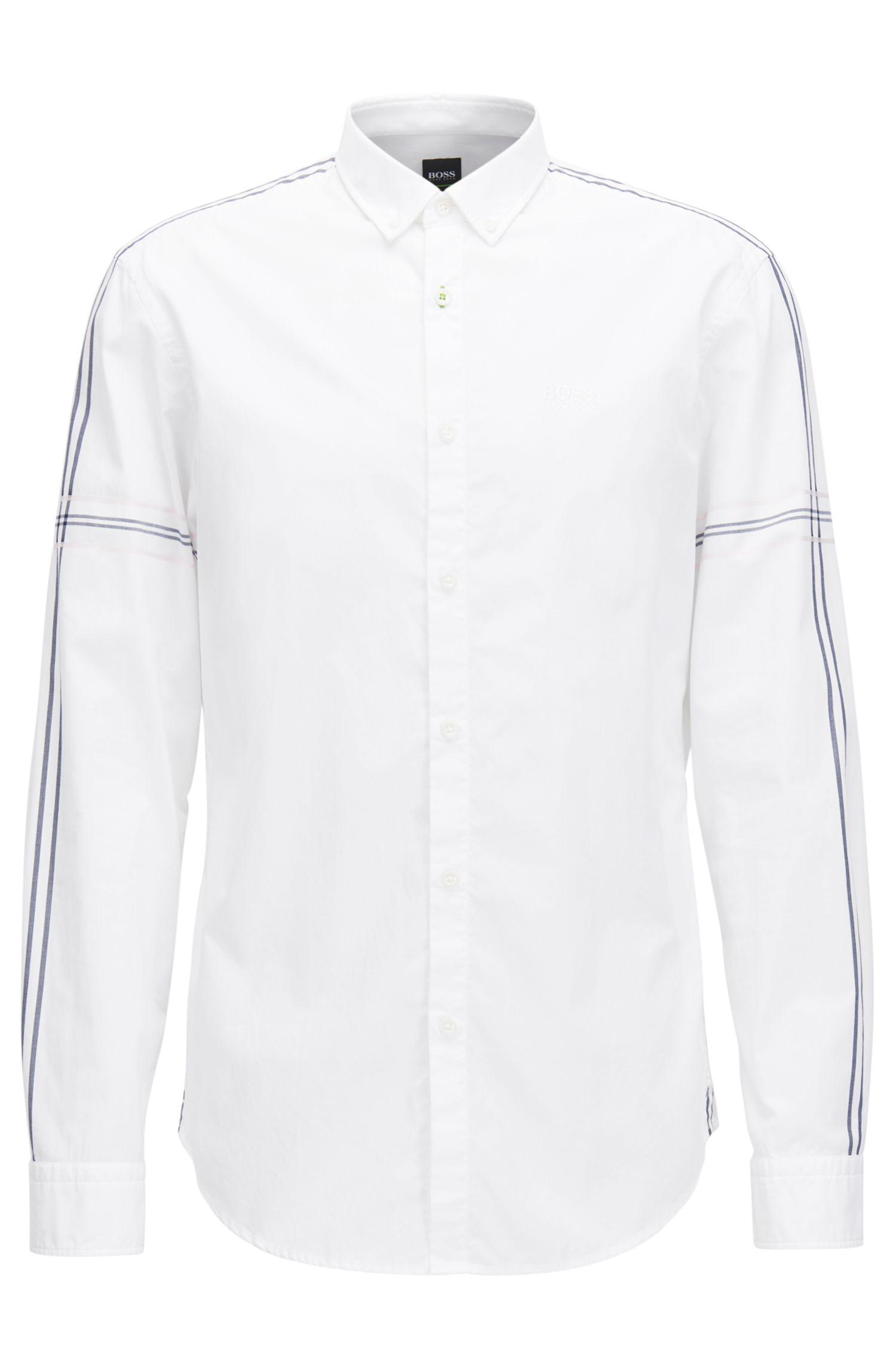 Camicia slim fit button-down in popeline di cotone