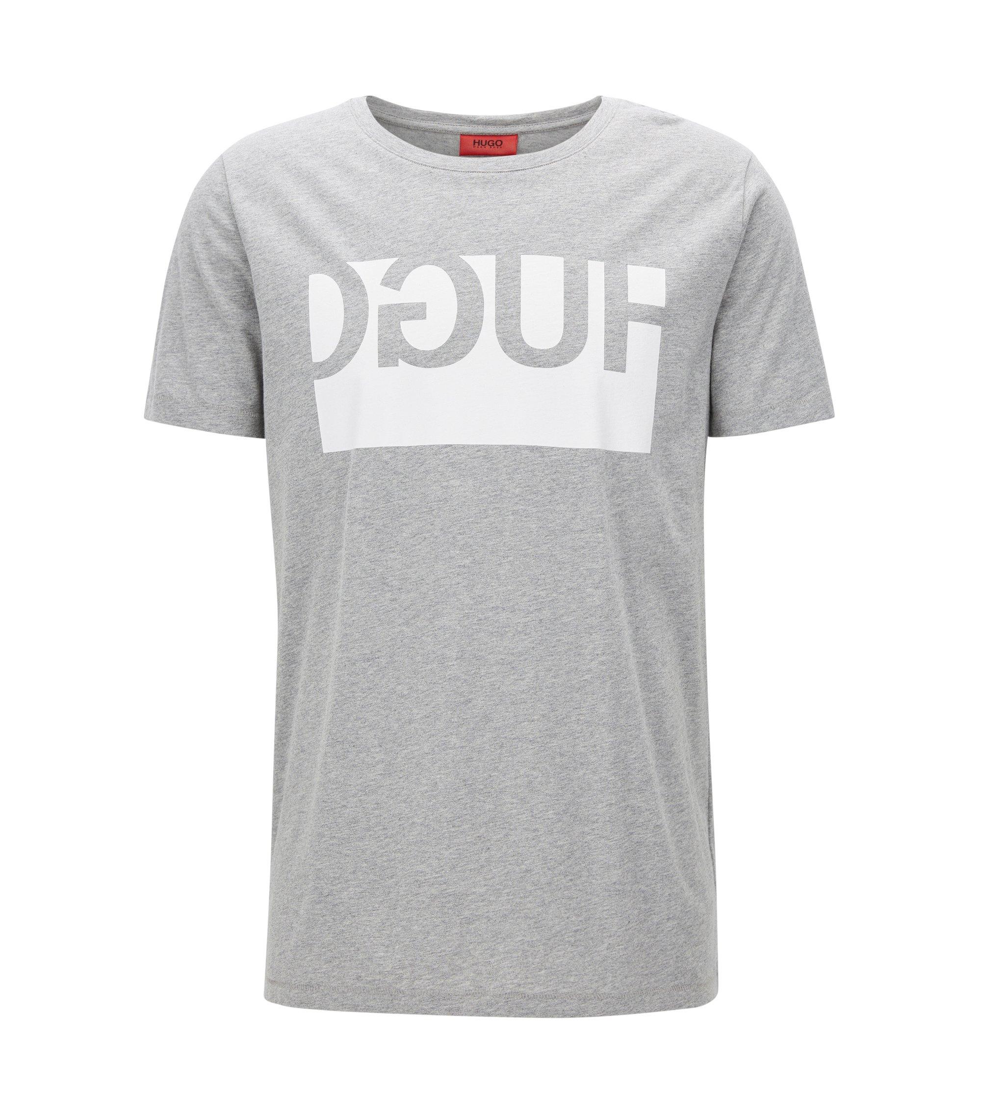 Exklusiv im Online-Shop: Regular-Fit T-Shirt aus Baumwolle mit spiegelverkehrtem Logo, Dunkelgrau