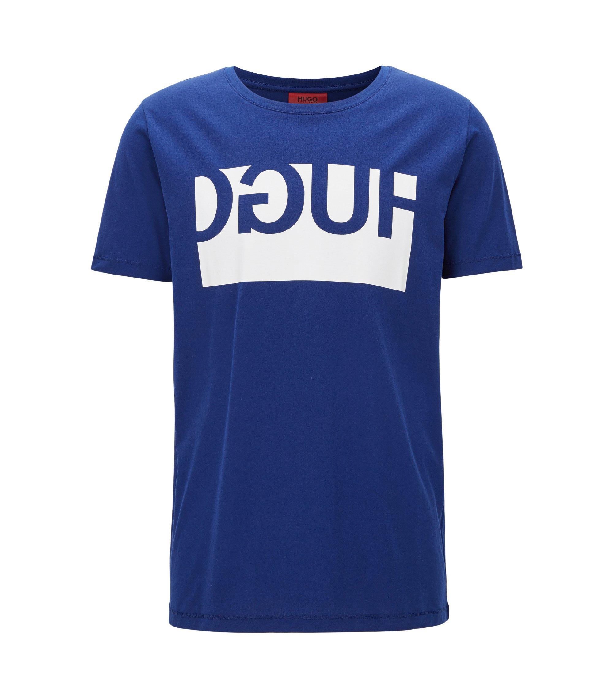 Regular-fit T-shirt van katoen met gespiegeld logo, exclusief online, Blauw