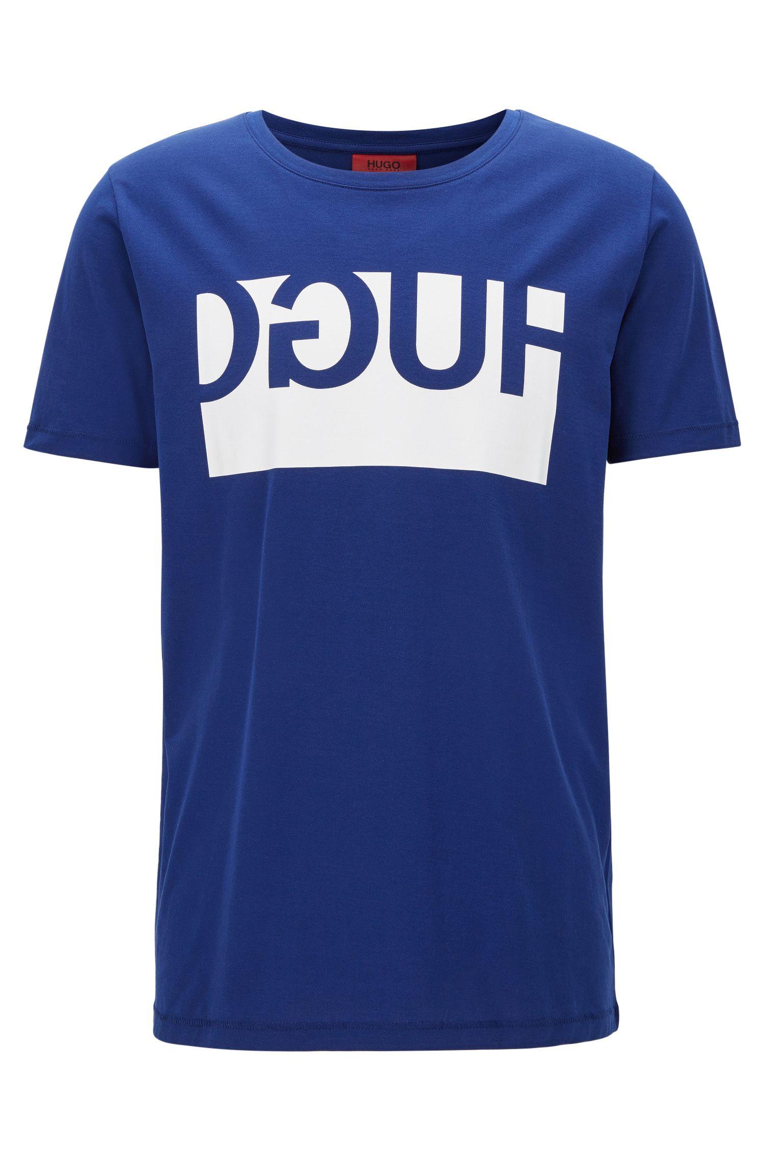 T-shirt regular fit in cotone con stampa del logo a rovescio