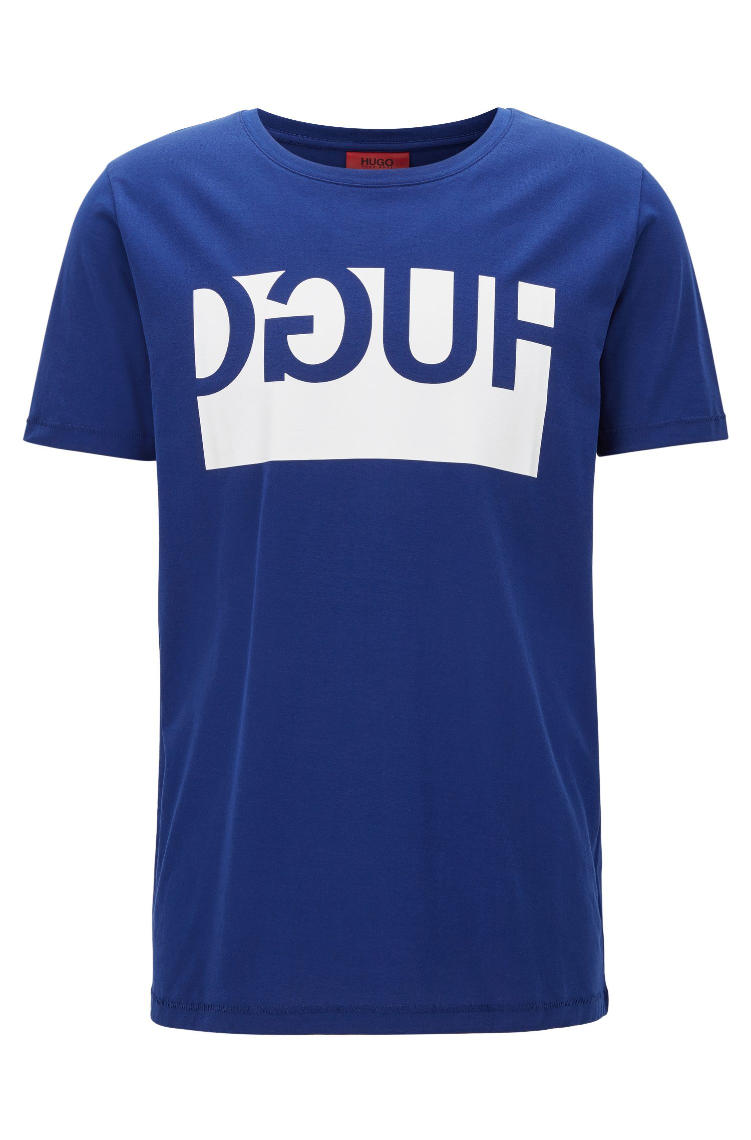 Regular-fit cotton T-shirt with reverse logo print