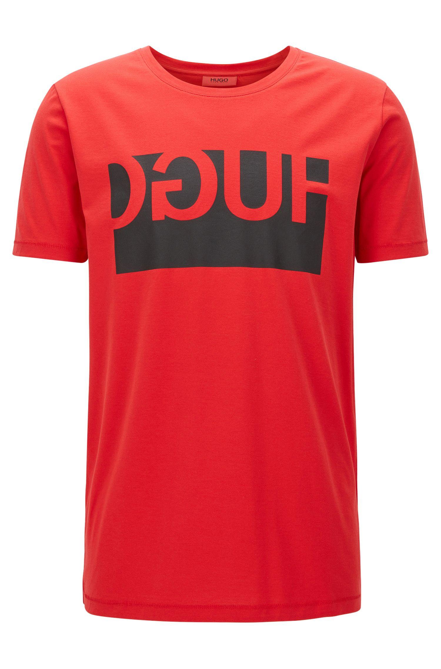 Regular-fit T-shirt van katoen met gespiegelde logoprint