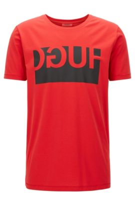 Regular-fit cotton T-shirt with reverse logo print, Red