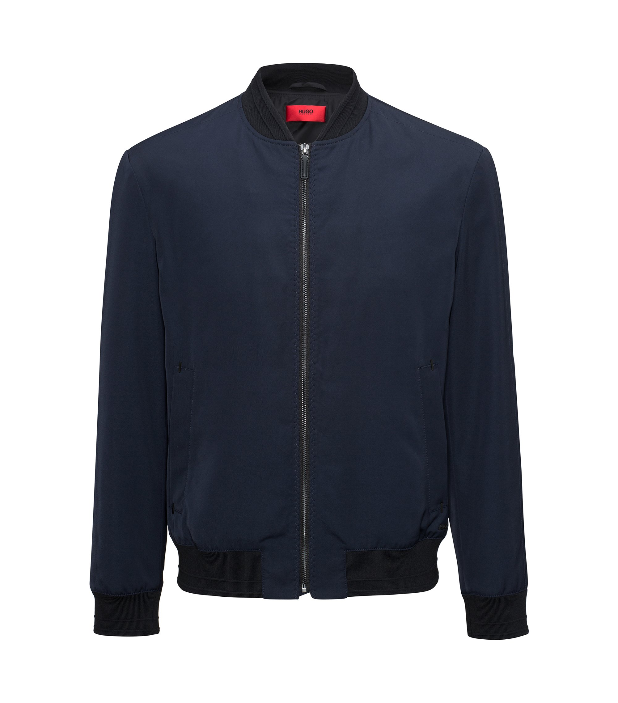 Slim-fit bomber jacket with Teflon™ finish, Dark Blue