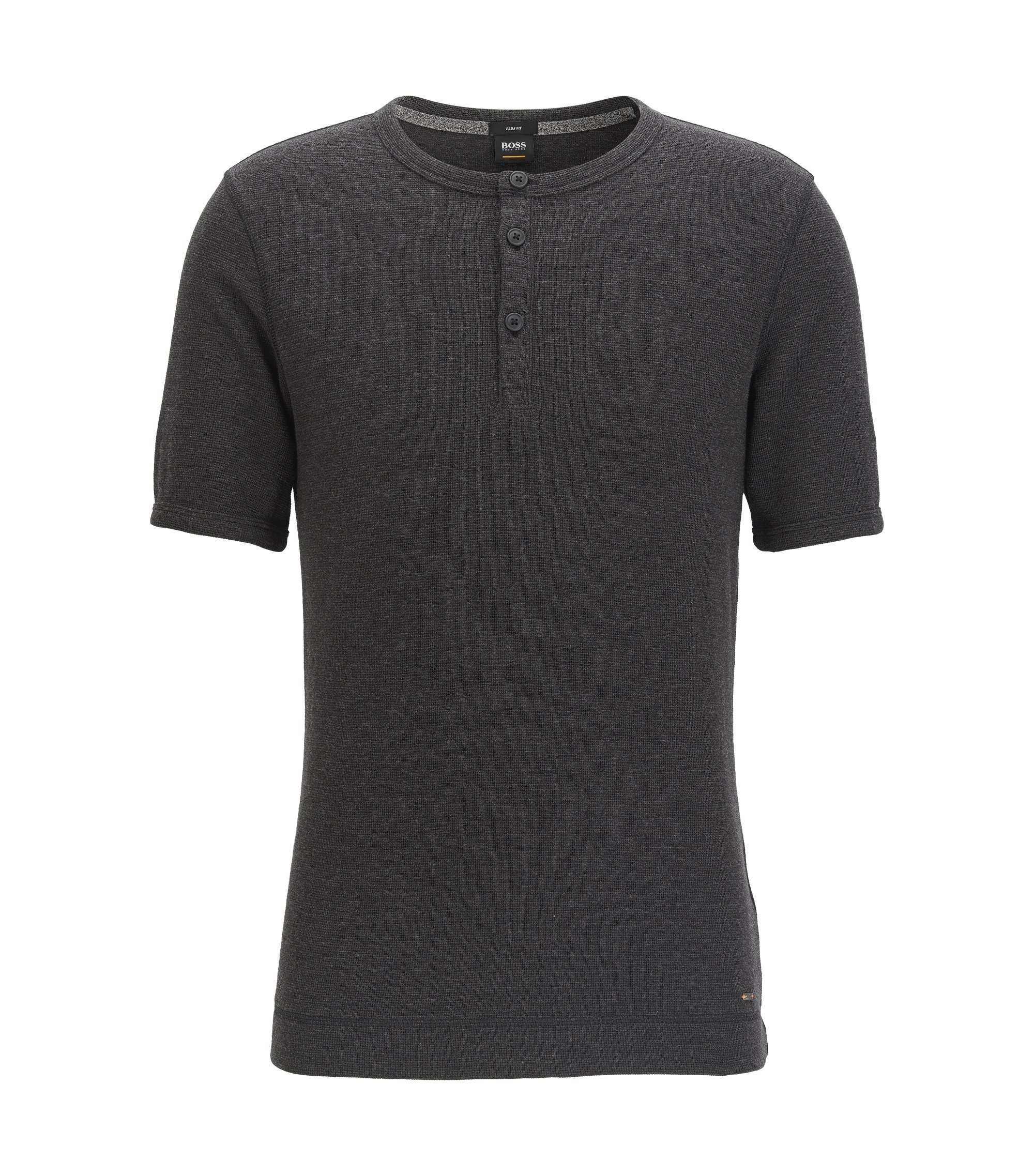 Slim-fit Henley T-shirt in heathered cotton, Black