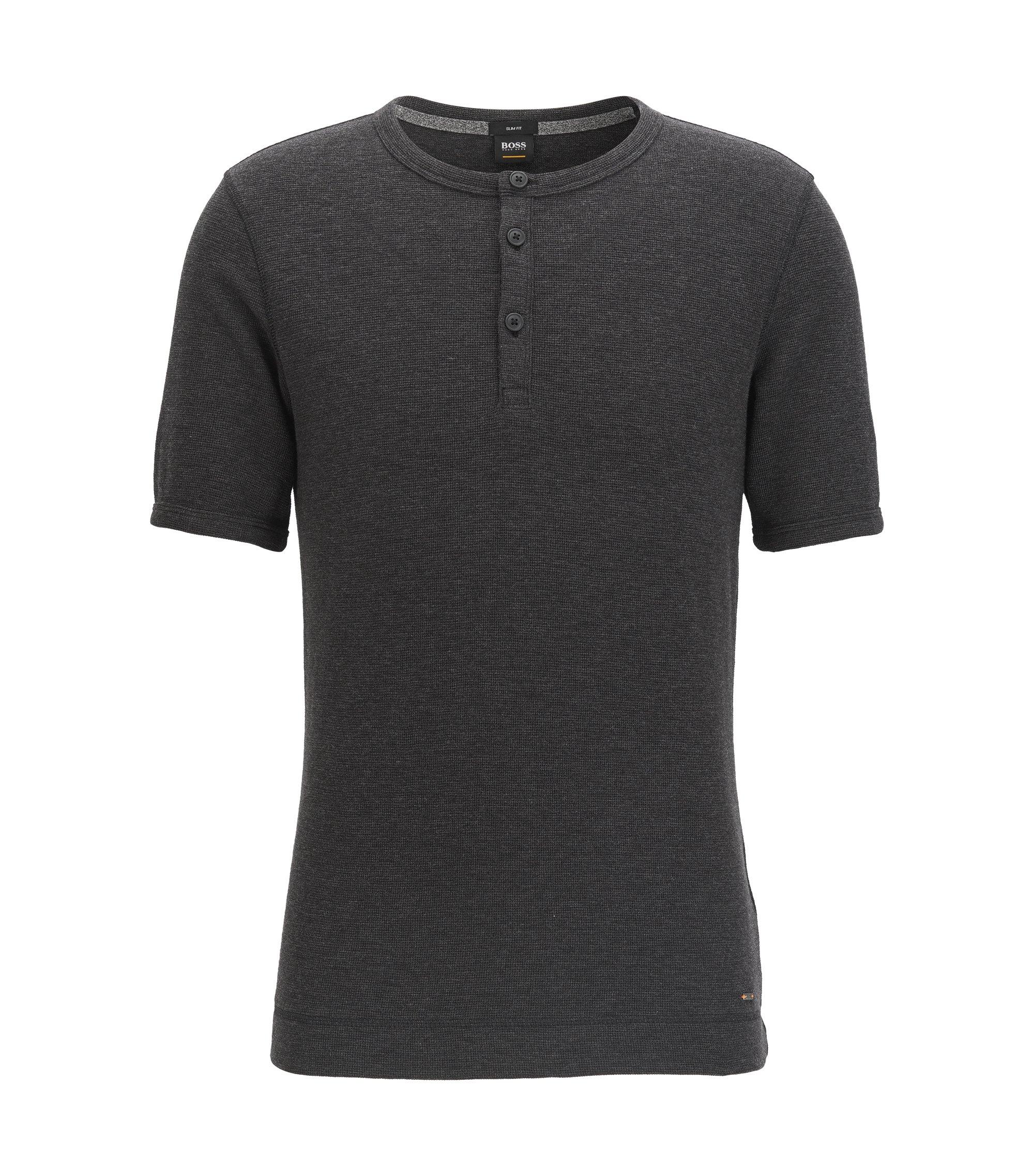Slim-Fit T-Shirt aus melierter Baumwolle mit Henley-Ausschnitt, Schwarz