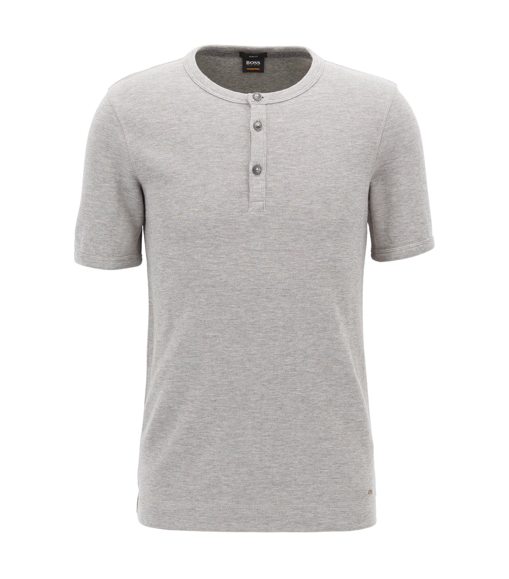 Slim-fit Henley T-shirt in heathered cotton, Light Grey
