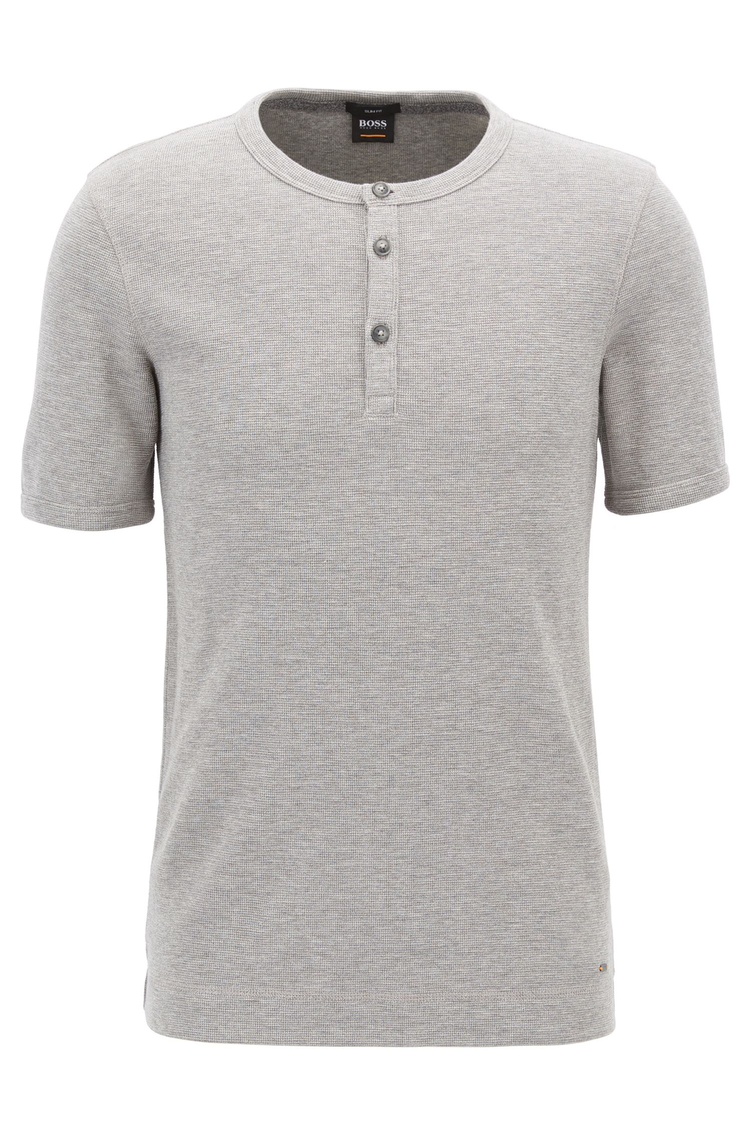 Slim-fit Henley T-shirt in heathered cotton
