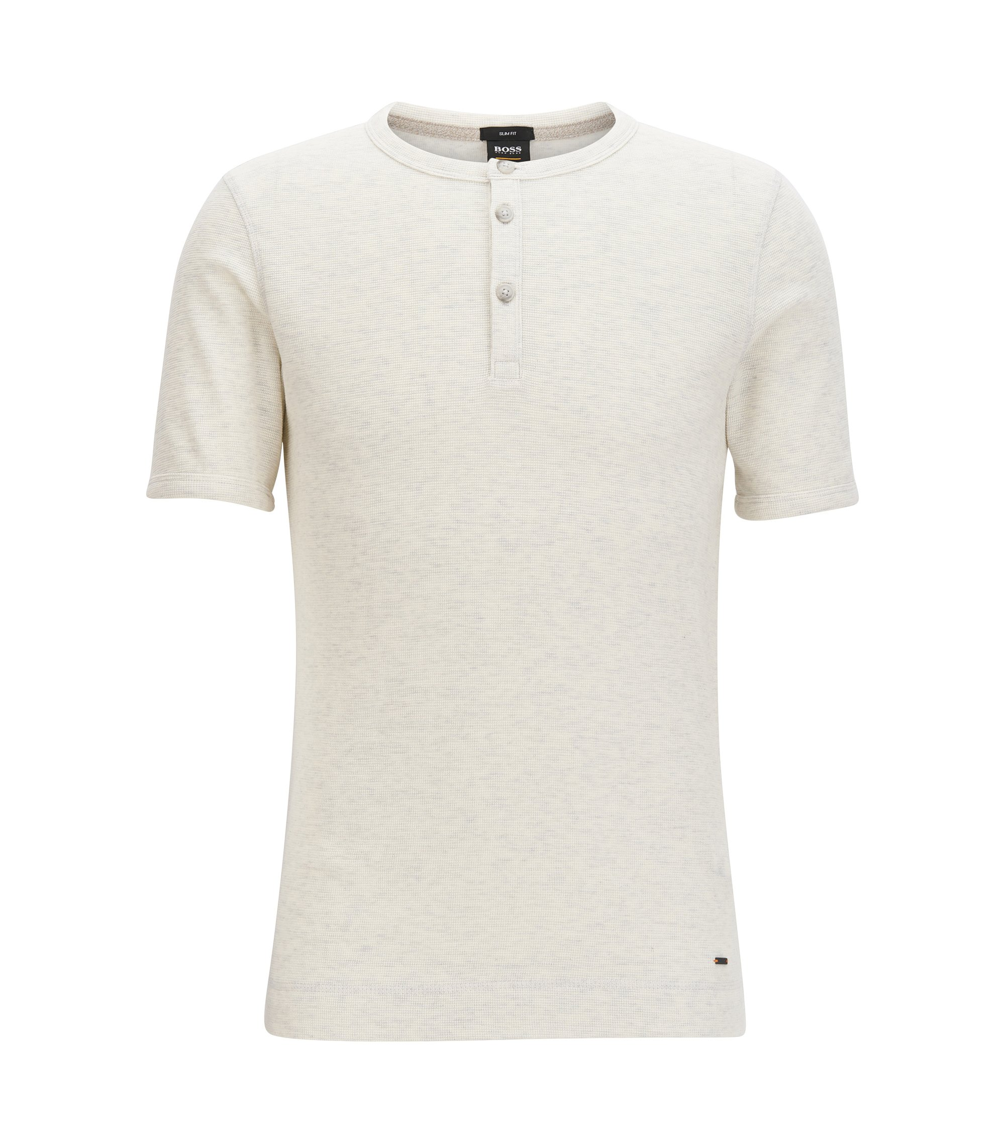 T-shirt slim fit stile Henley in cotone mélange, Naturale