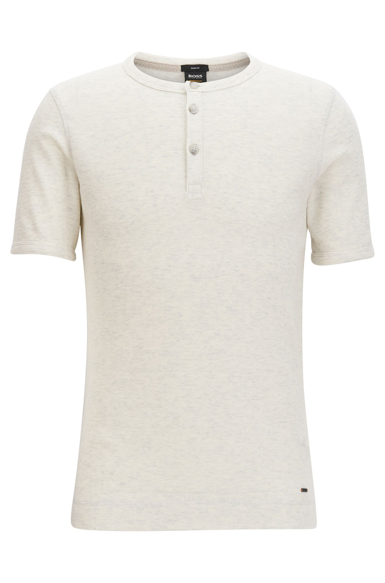 Slim-fit henley-T-shirt van gemêleerde katoen