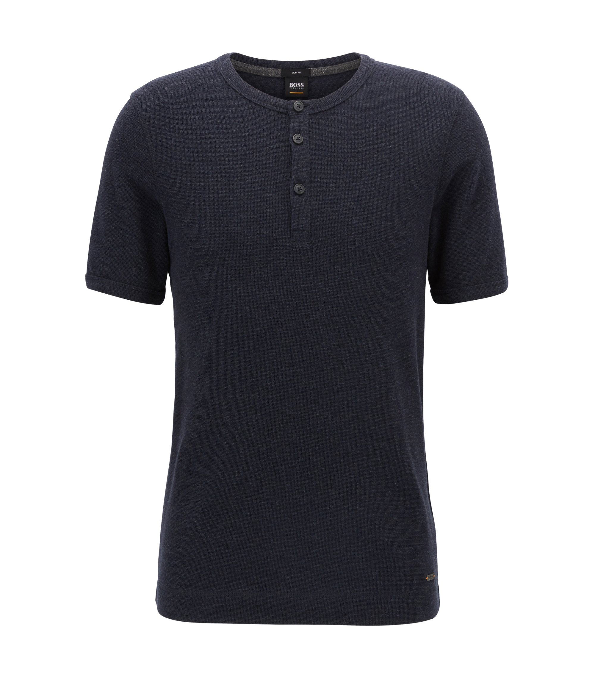 Slim-fit Henley T-shirt in heathered cotton, Dark Blue