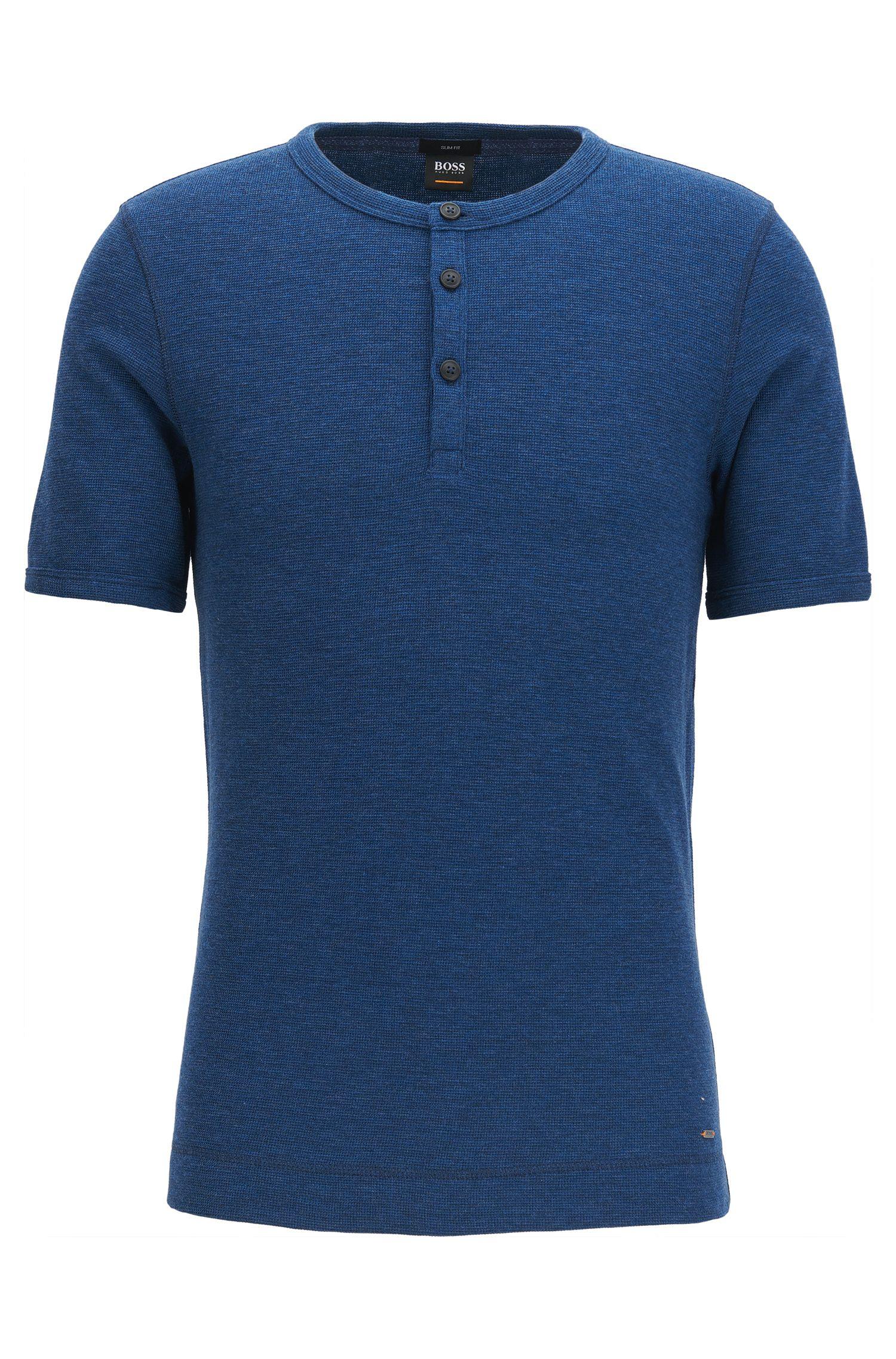 Slim-Fit T-Shirt aus melierter Baumwolle mit Henley-Ausschnitt