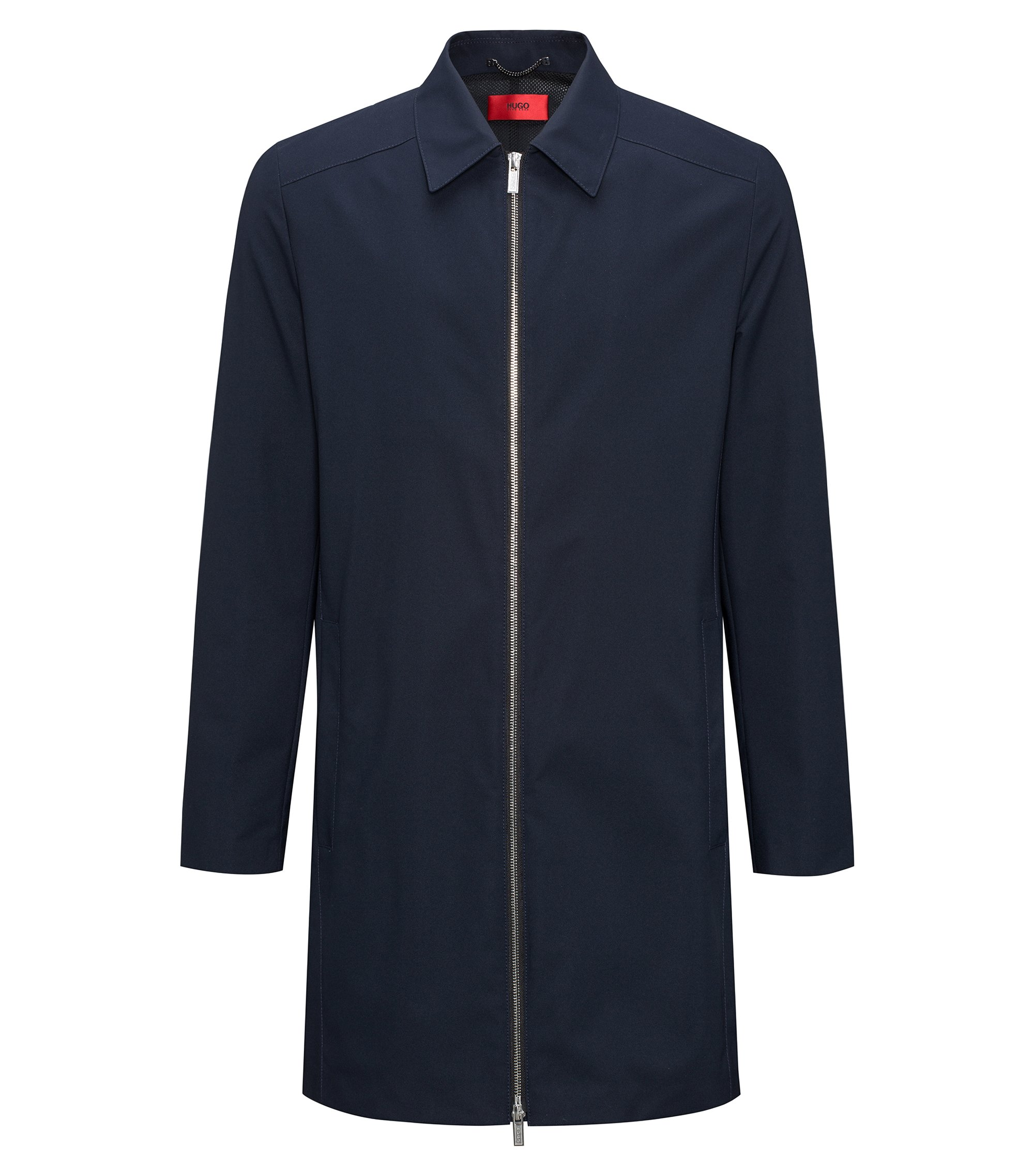 Slim-fit water-repellent coat with point collar, Dark Blue