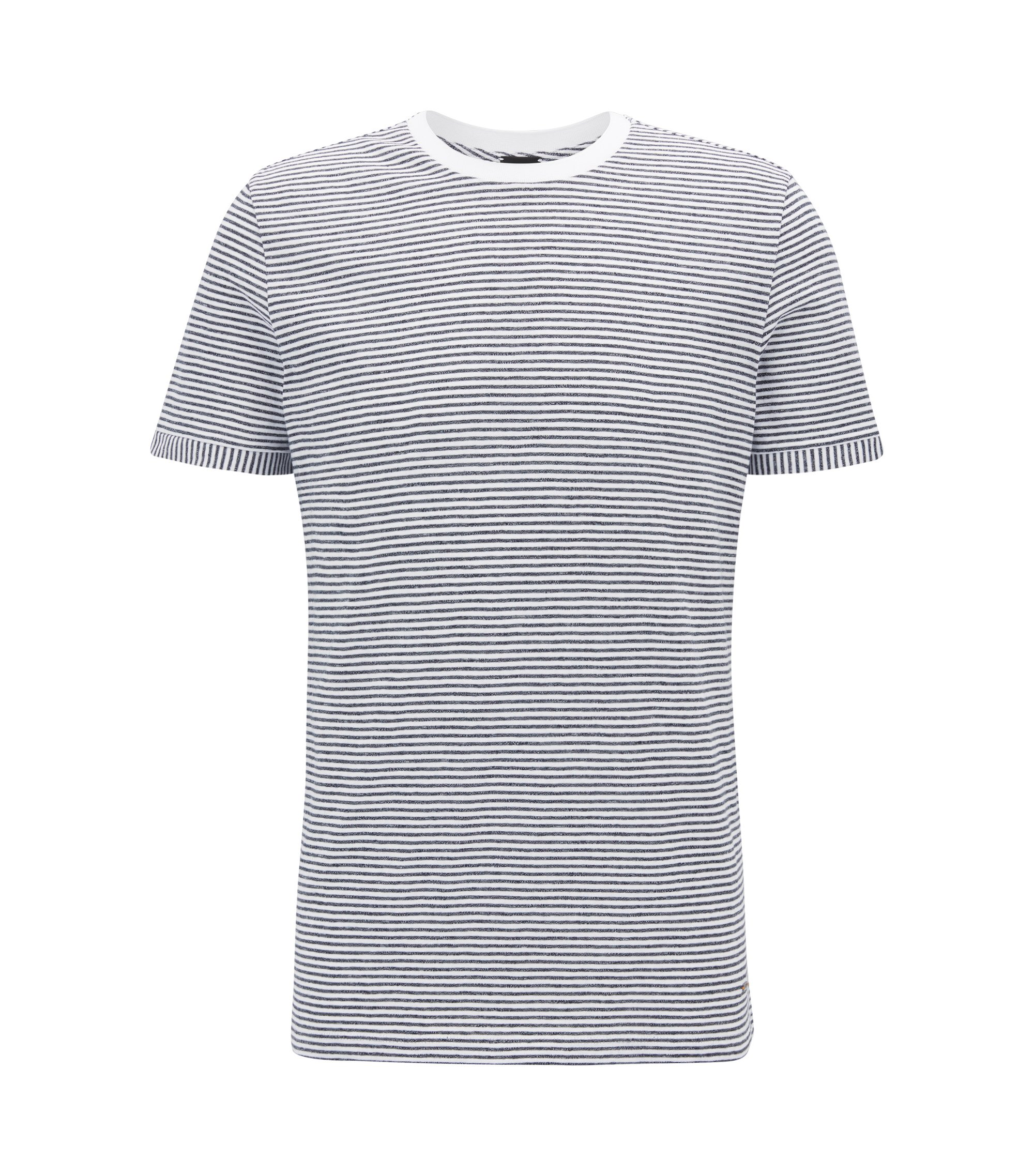 Camiseta regular fit en mezcla de algodón mouliné, Blanco