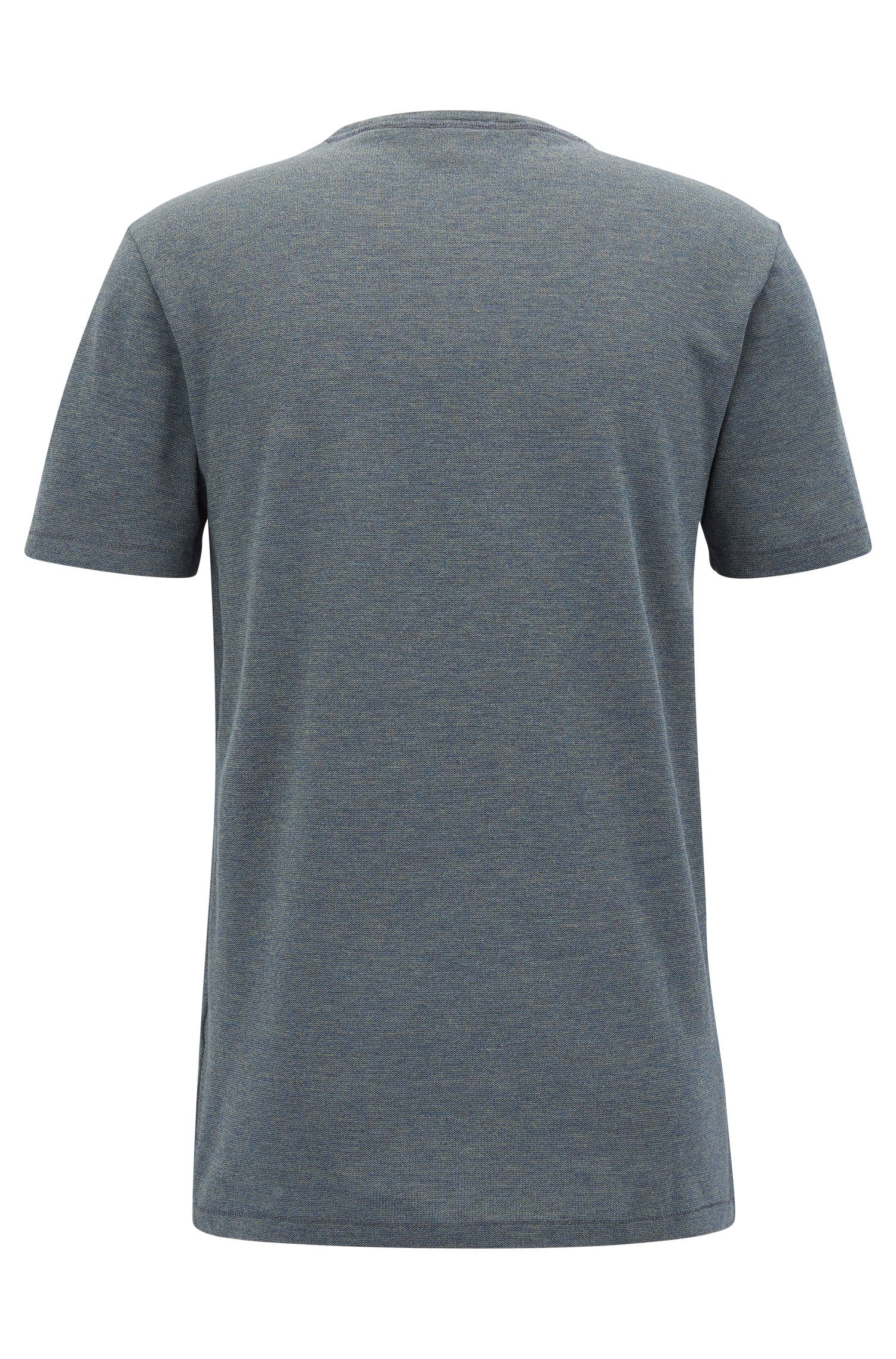 T-shirt a girocollo in cotone mouliné tinto in filo
