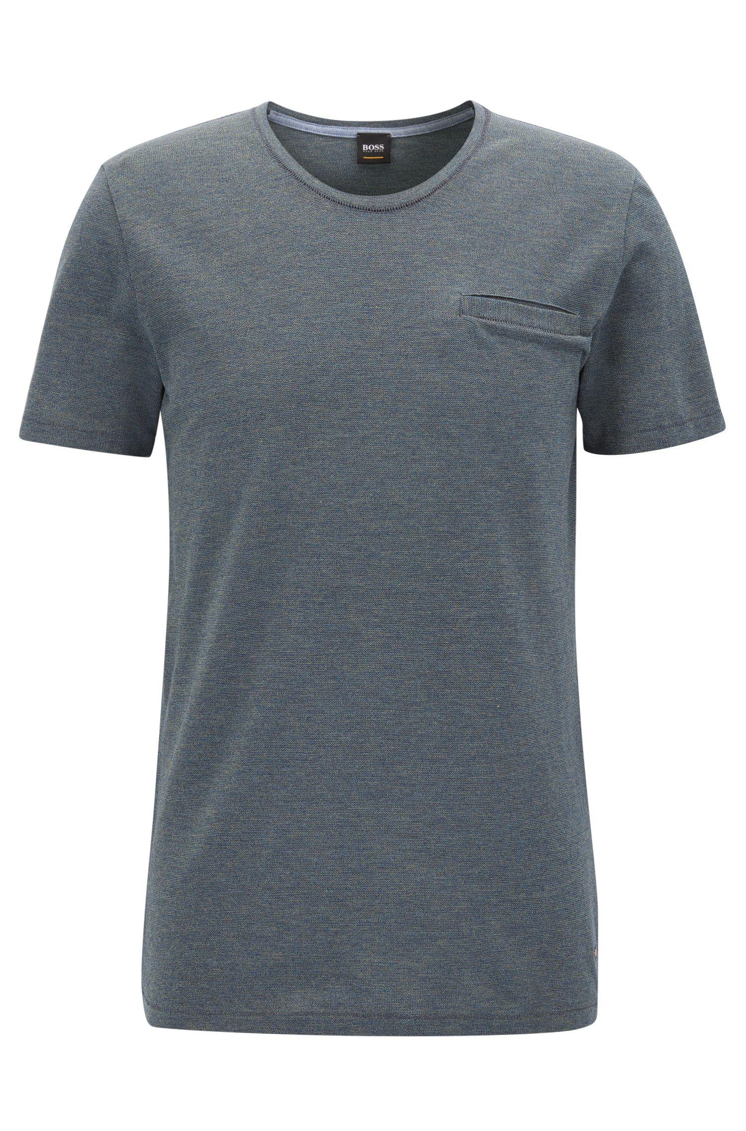 Regular-Fit T-Shirt aus garngefärbter Mouliné-Baumwolle mit U-Ausschnitt