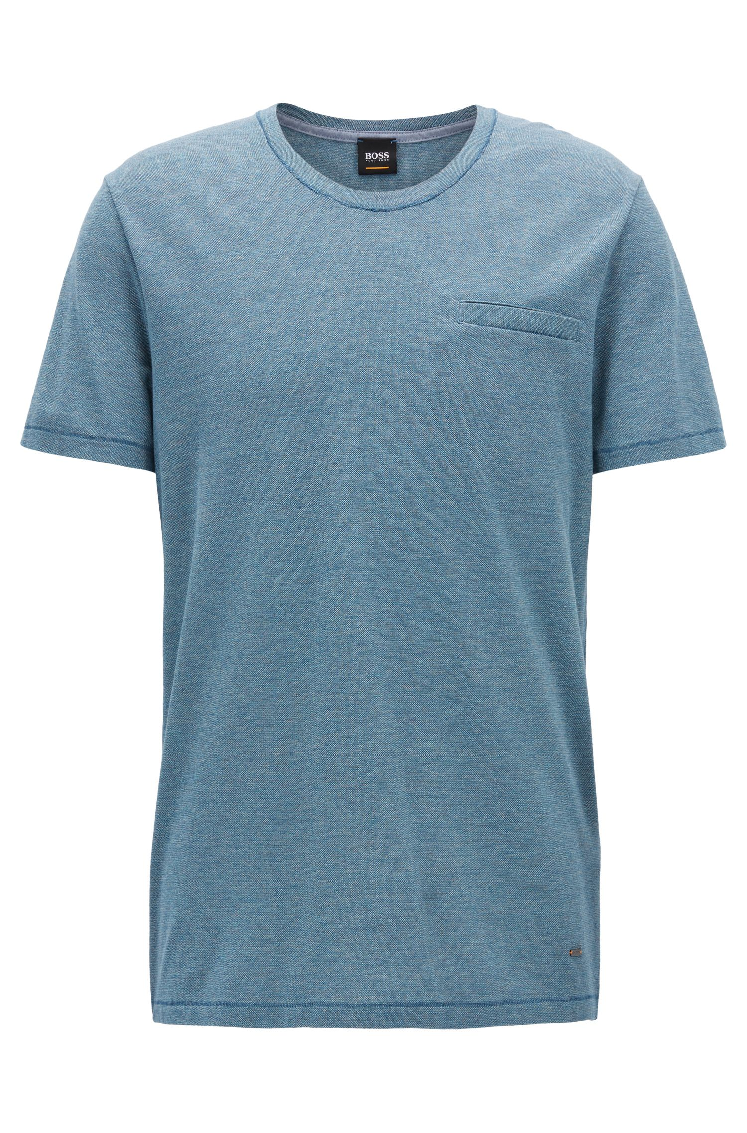 Scoop-neck T-shirt in yarn-dyed mouliné cotton