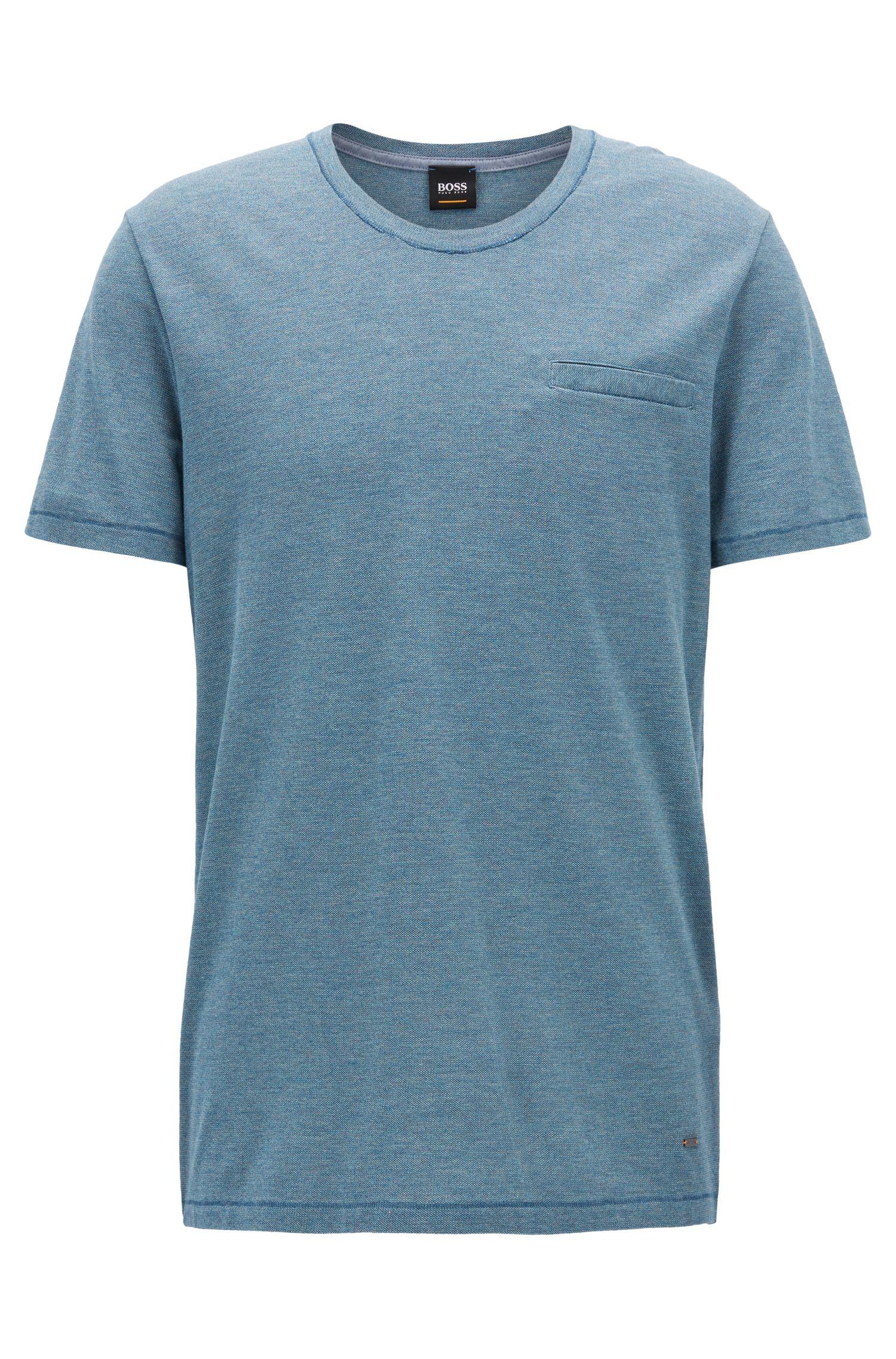 T-shirt à encolure ronde en coton mouliné tissé-teint