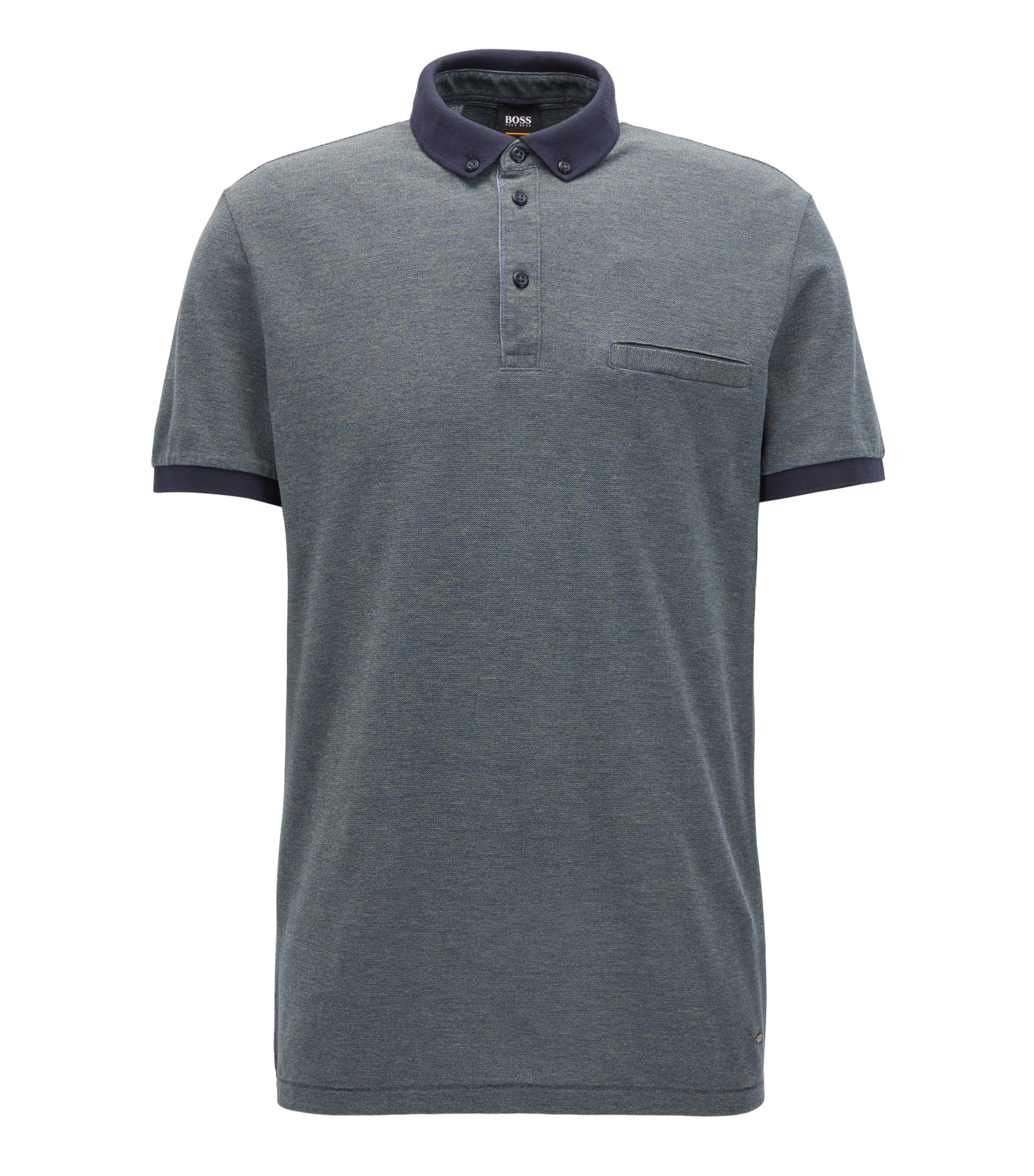 Relaxed-fit polo shirt in mouliné cotton, Dark Blue