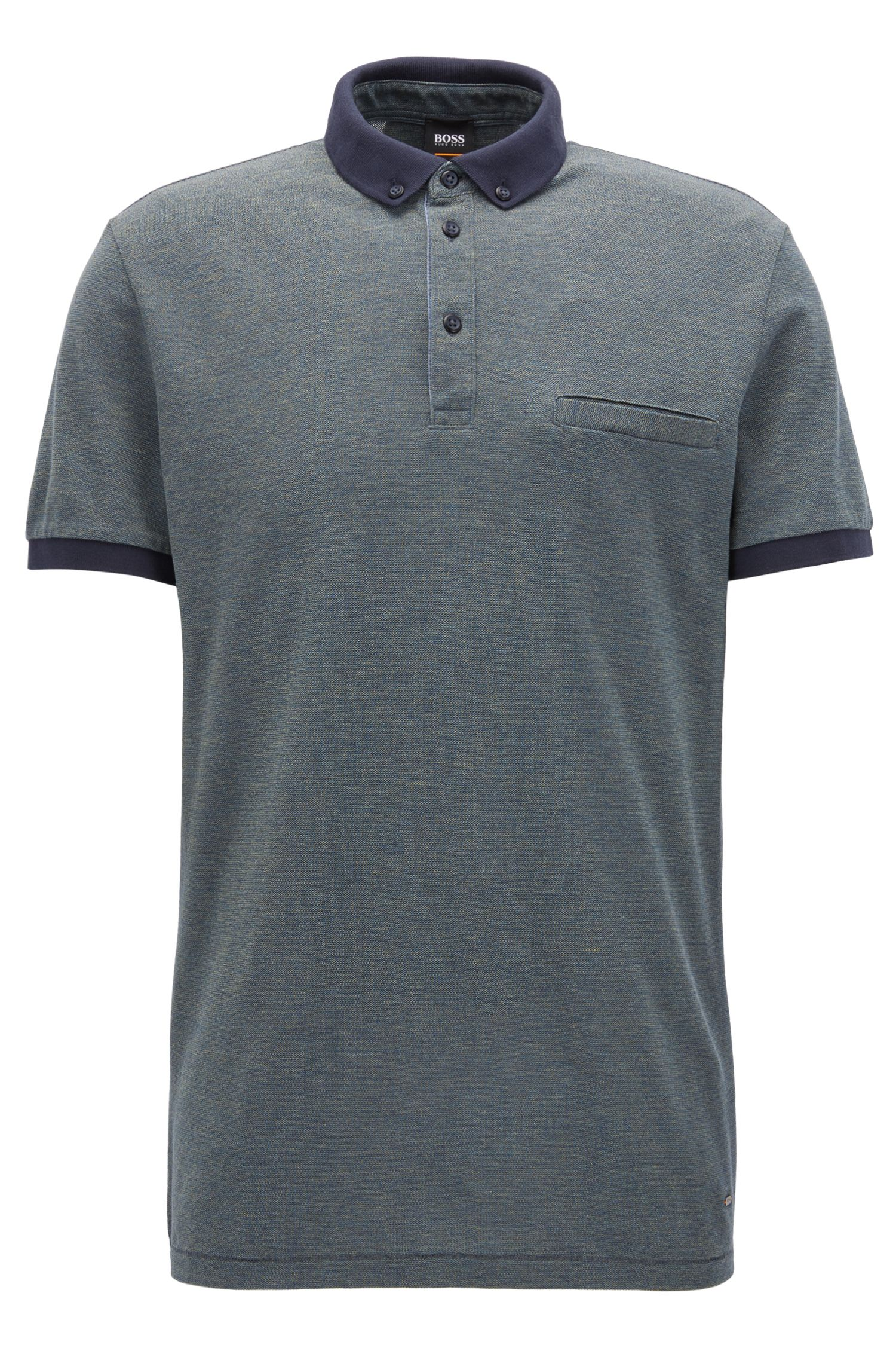 Relaxed-fit polo shirt in mouliné cotton