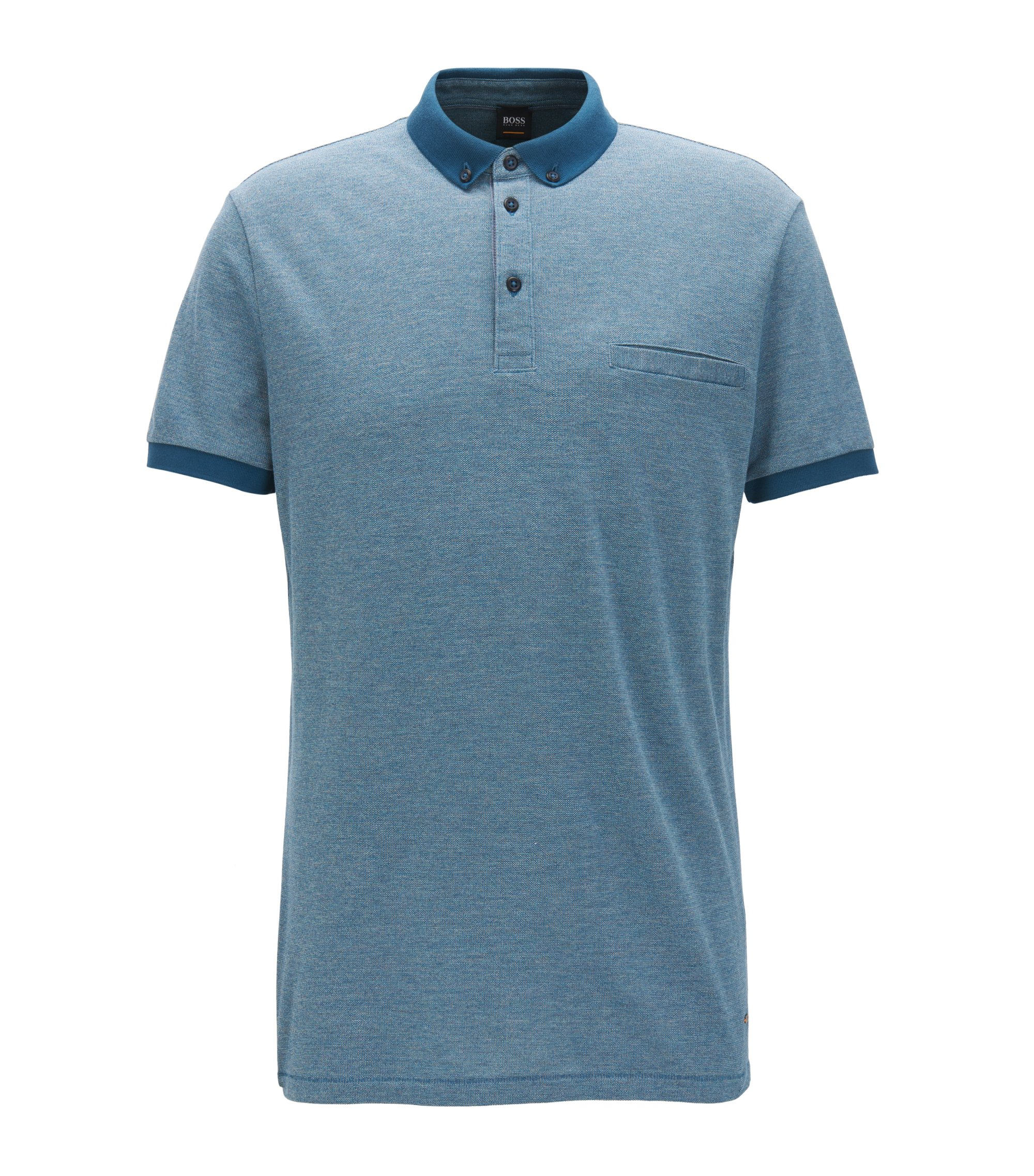 Relaxed-fit polo shirt in mouliné cotton, Blue