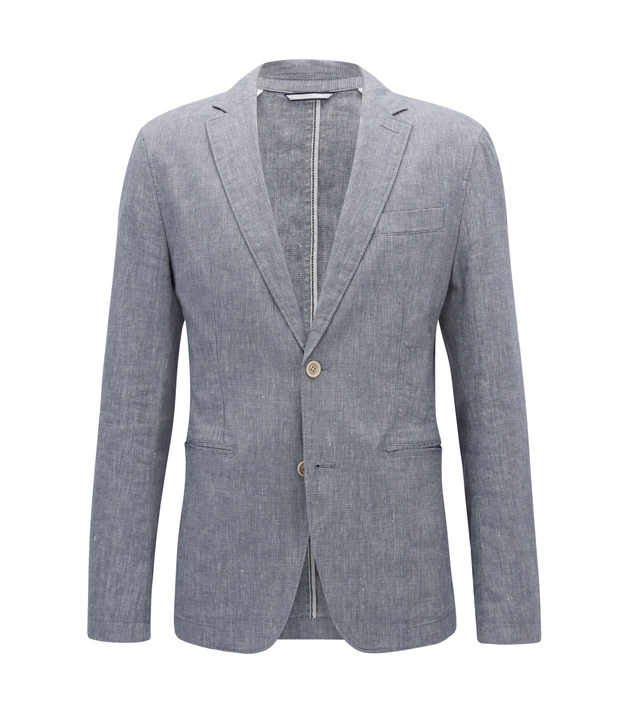 Slim-fit blazer in a stretch linen blend, Grey