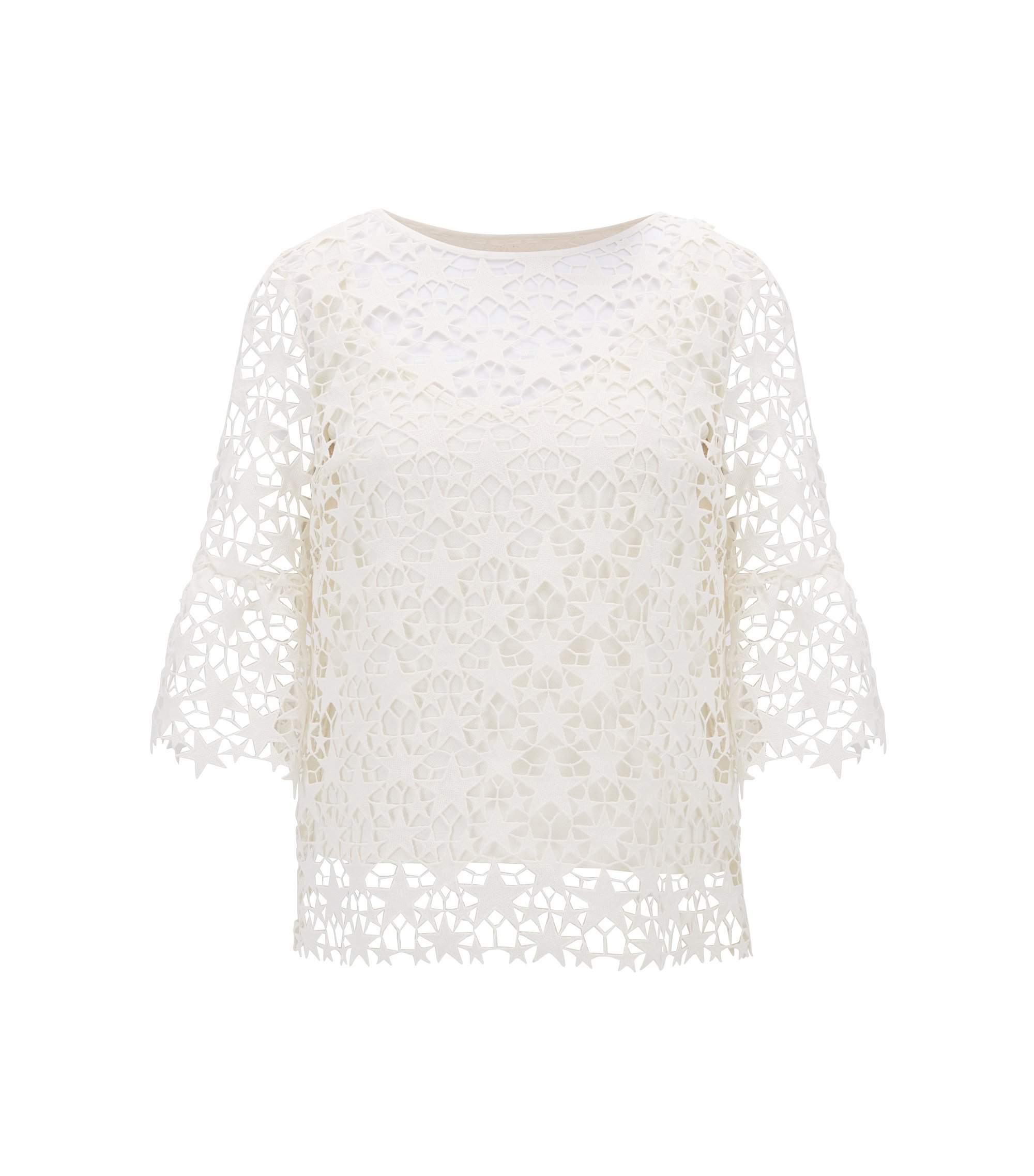 Star lace layered top with bell sleeves, Natural