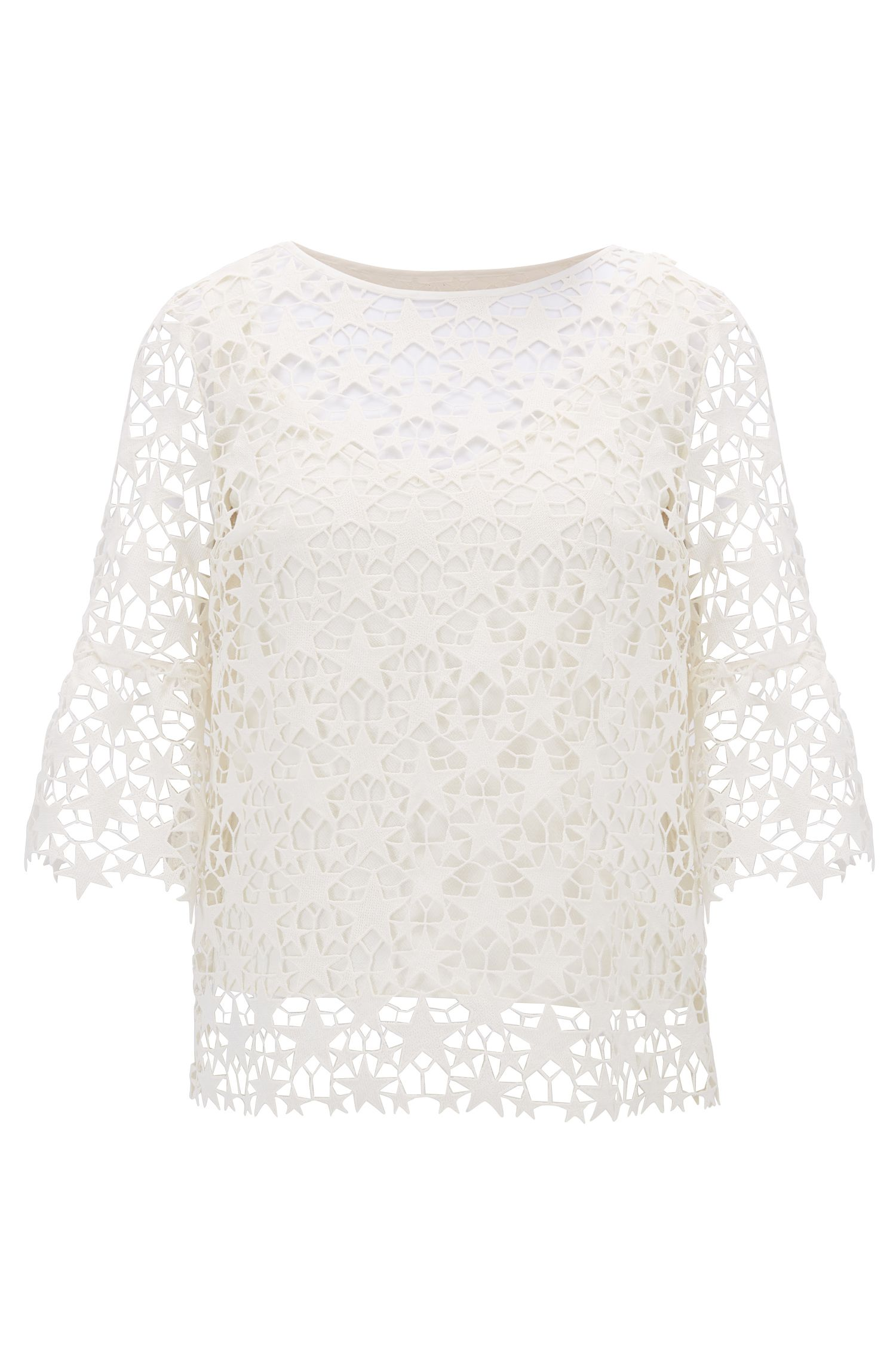 Star lace layered top with bell sleeves